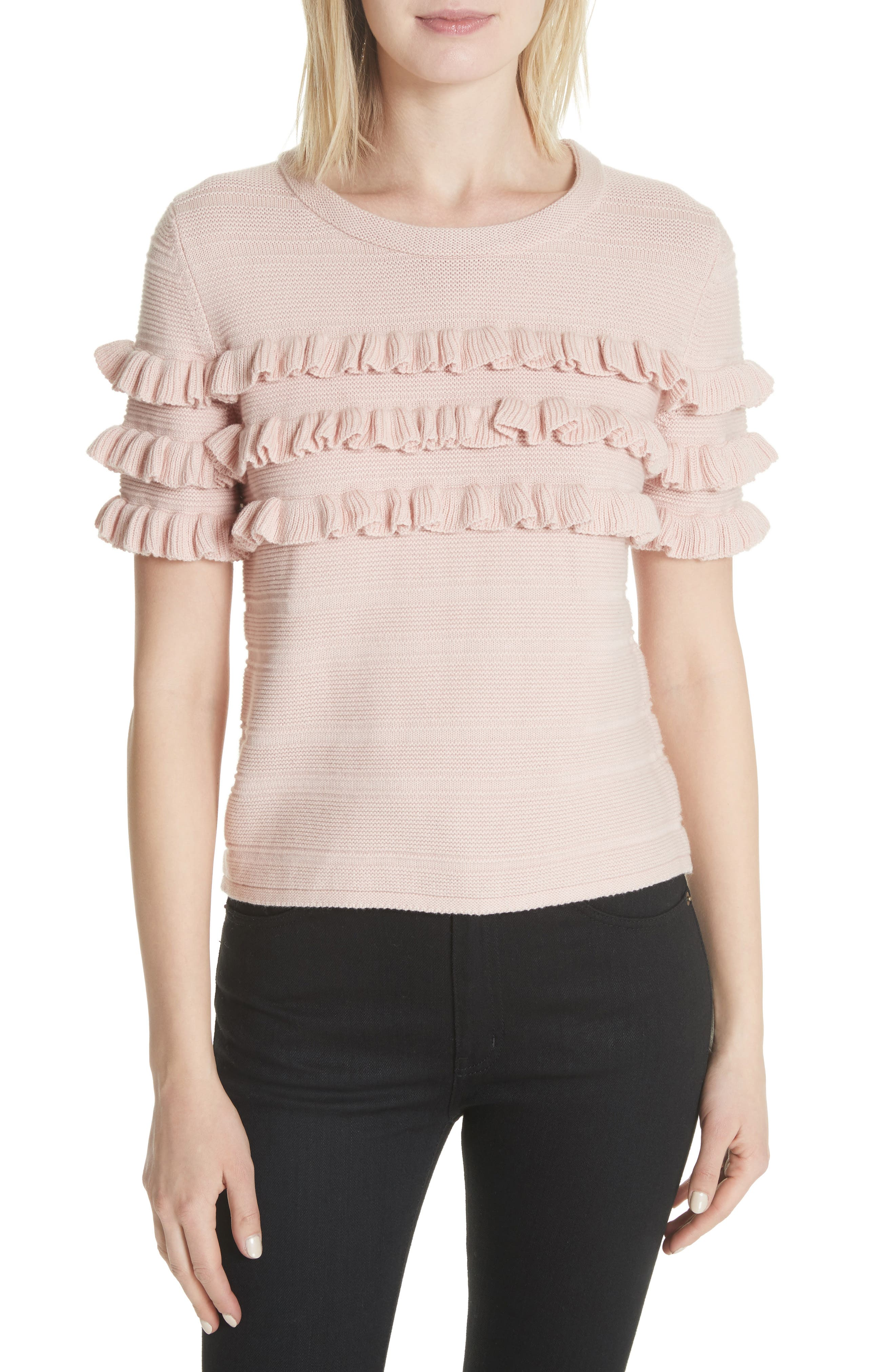 ruffled cotton & cashmere sweater,                             Main thumbnail 1, color,                             Cameo Pink