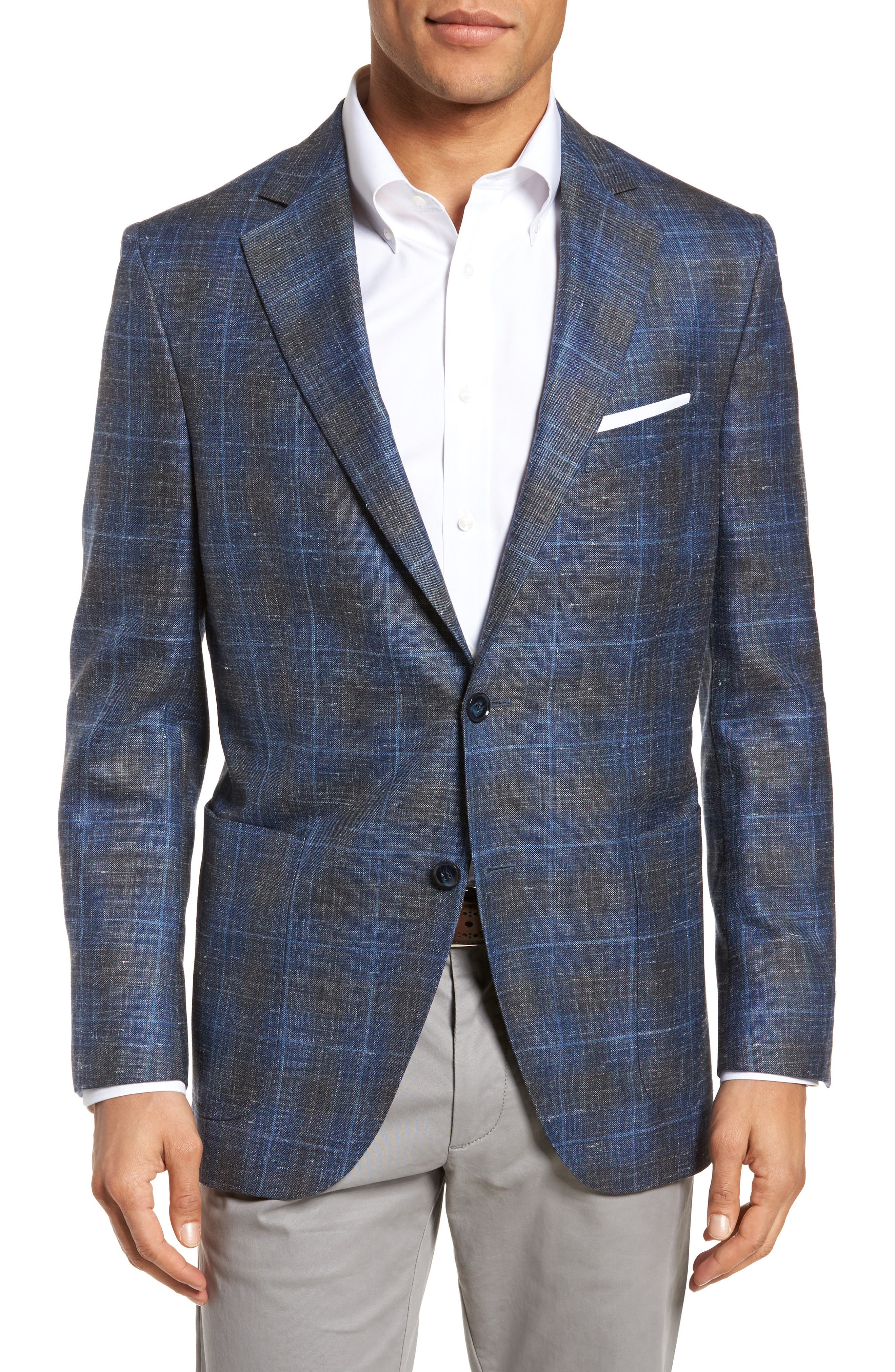 Classic Fit Plaid Wool Blend Sport Coat,                         Main,                         color, Blue