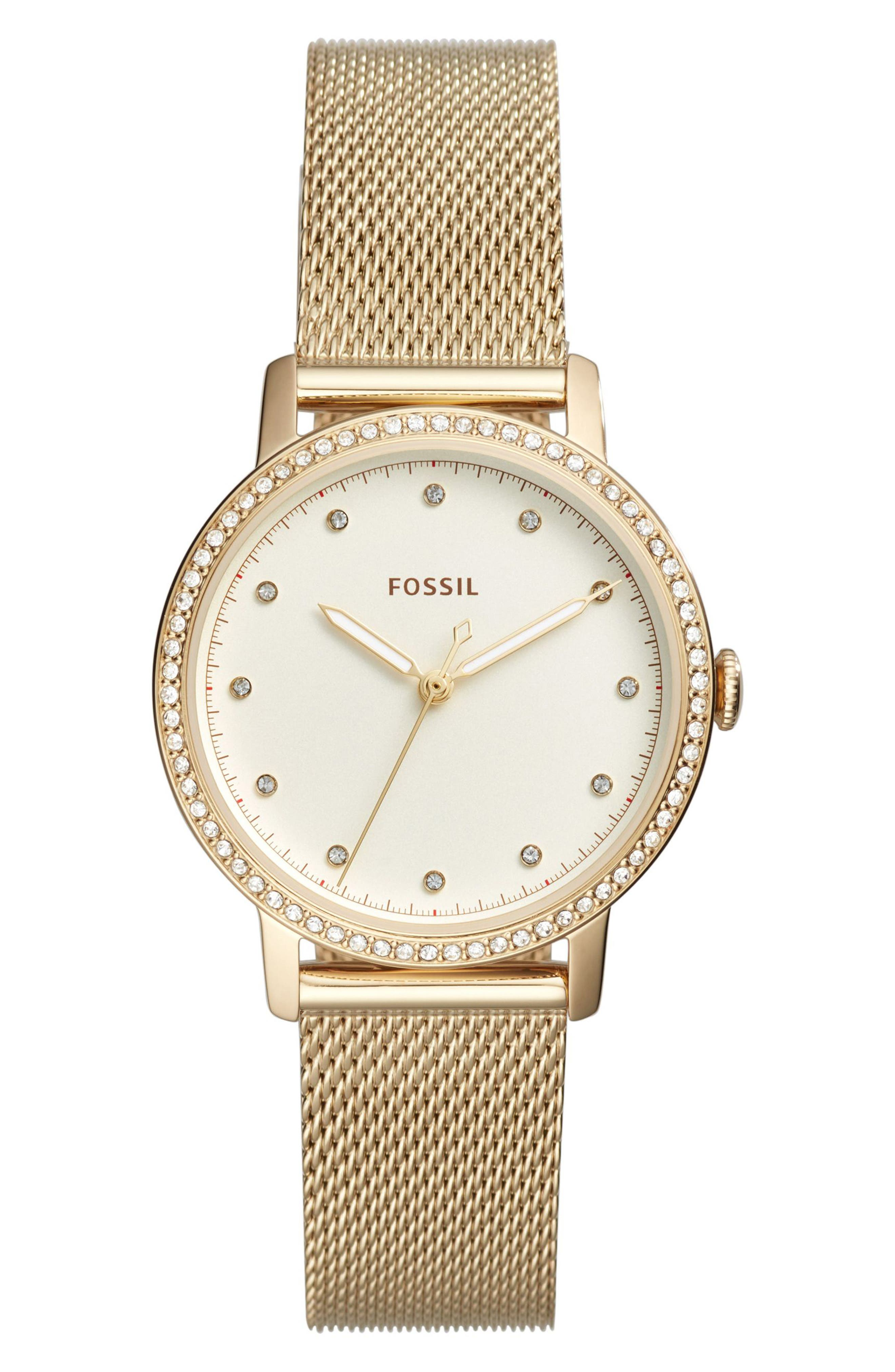 Main Image - Fossil Neely Crystal Mesh Strap Watch, 34mm