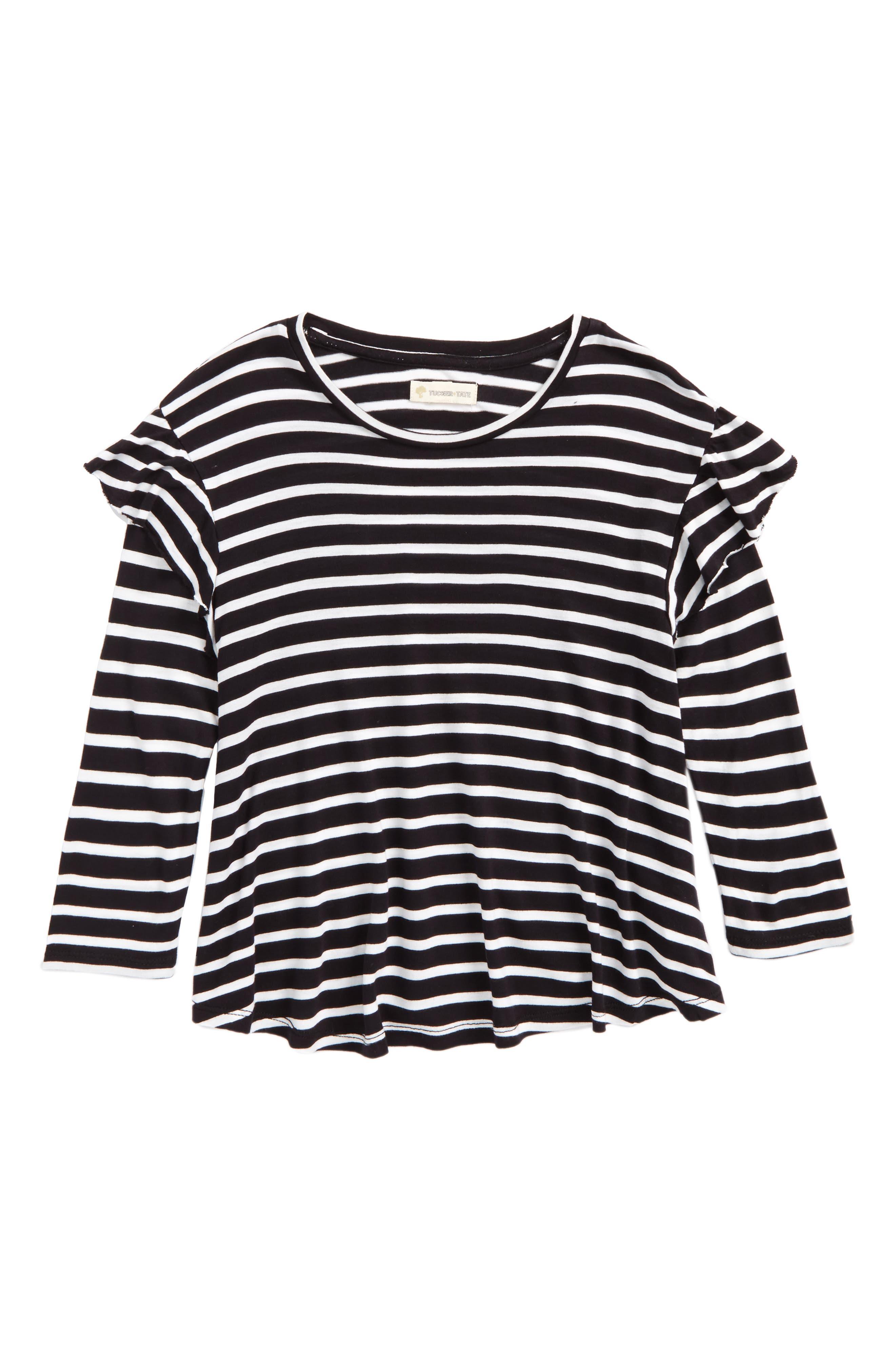 Stripe Ruffle Swing Tee,                         Main,                         color, Black Rock- White Stripe
