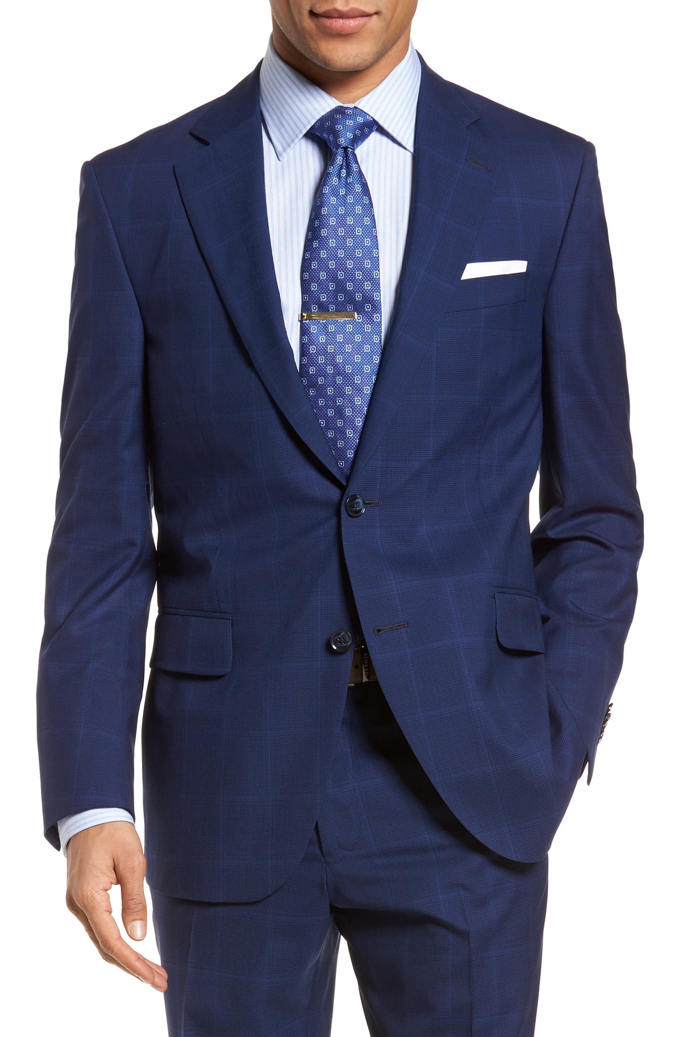 Classic Fit Windowpane Wool Suit,                             Alternate thumbnail 5, color,                             Navy