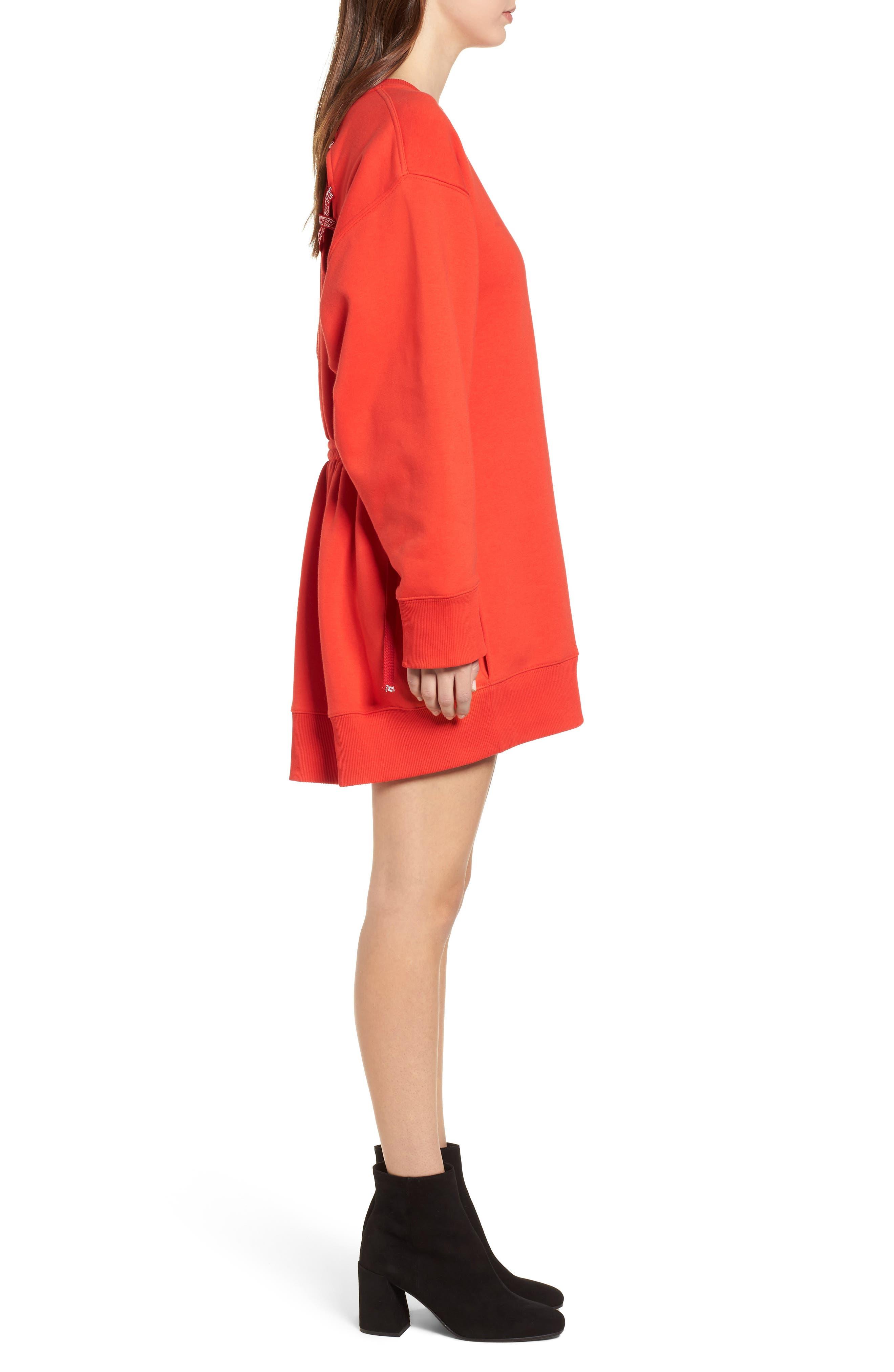 x Gigi Hadid Sweatshirt Dress,                             Alternate thumbnail 3, color,                             Flame Scarlet