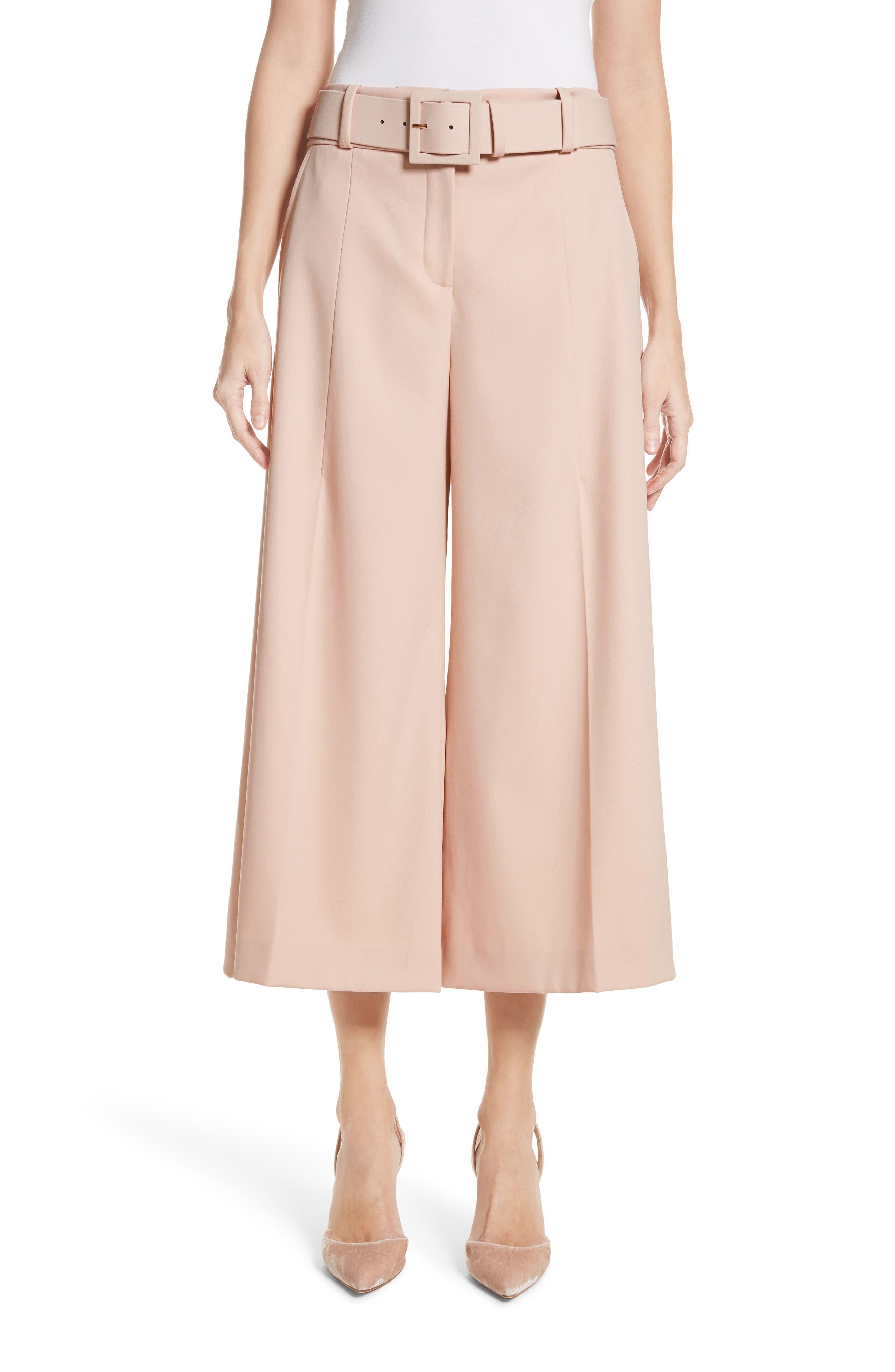 Stretch Wool Gabardine Culottes,                         Main,                         color, Blush