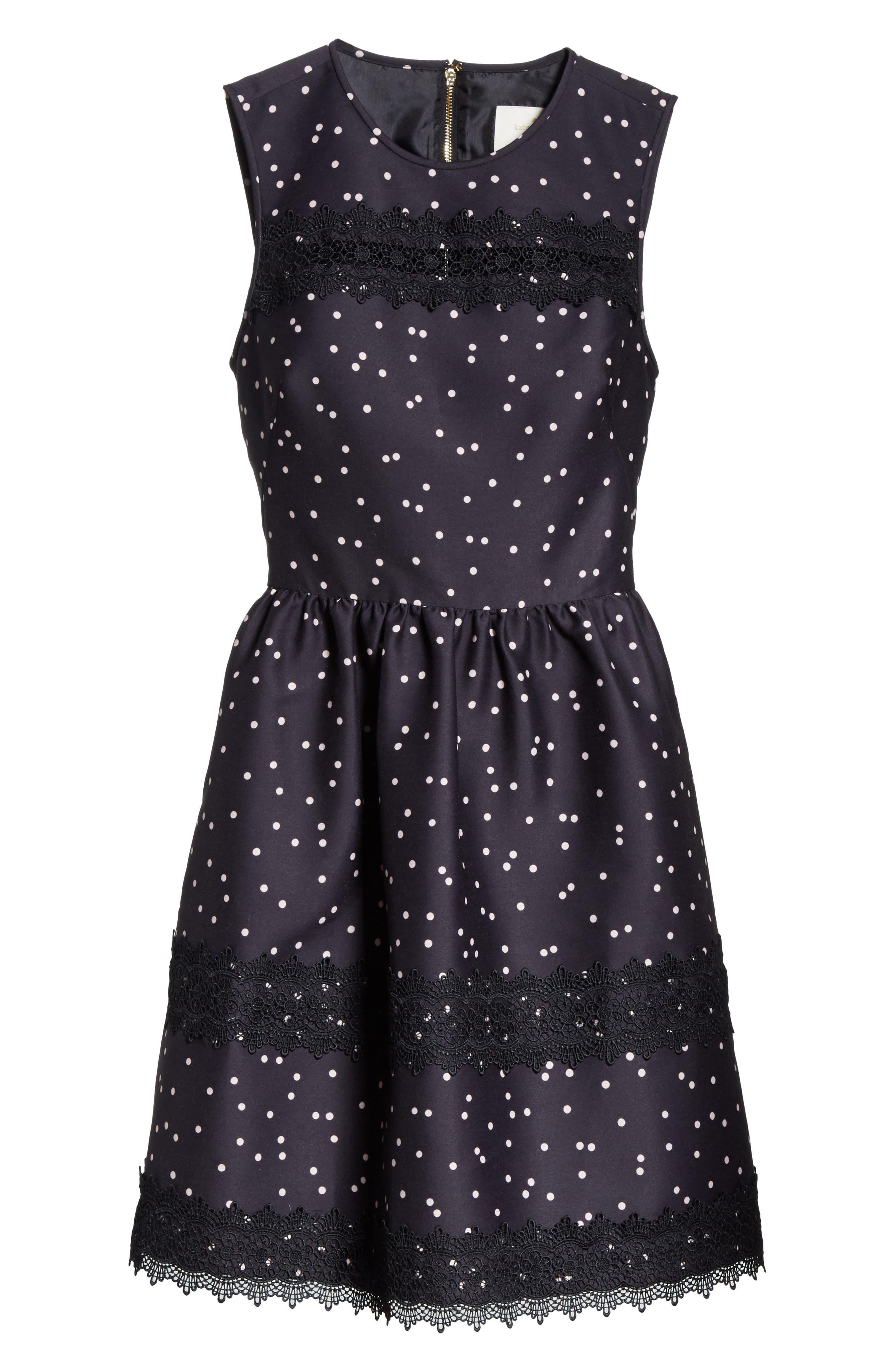 scatter dot mikado fit & flare dress,                             Alternate thumbnail 6, color,                             Black Multi
