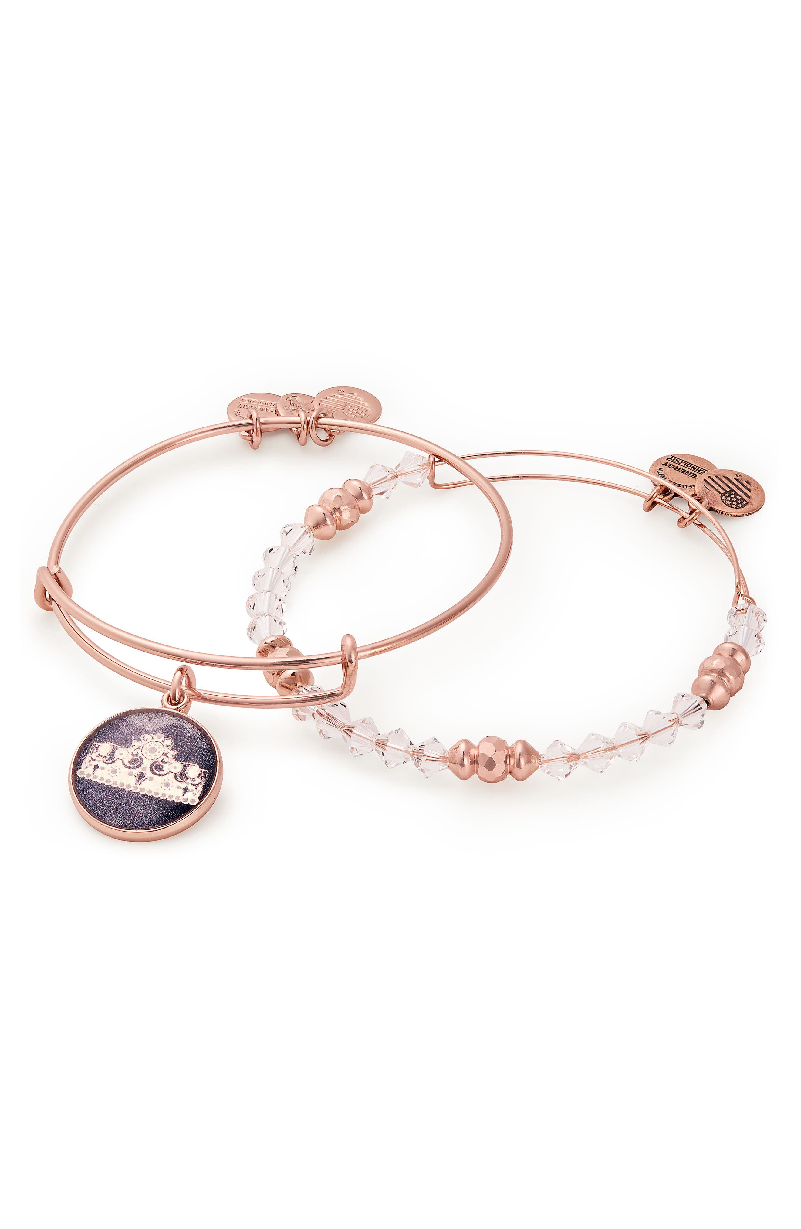 Queen's Crown Set of 2 Adjustable Wire Bangles,                             Main thumbnail 1, color,                             Rose Gold