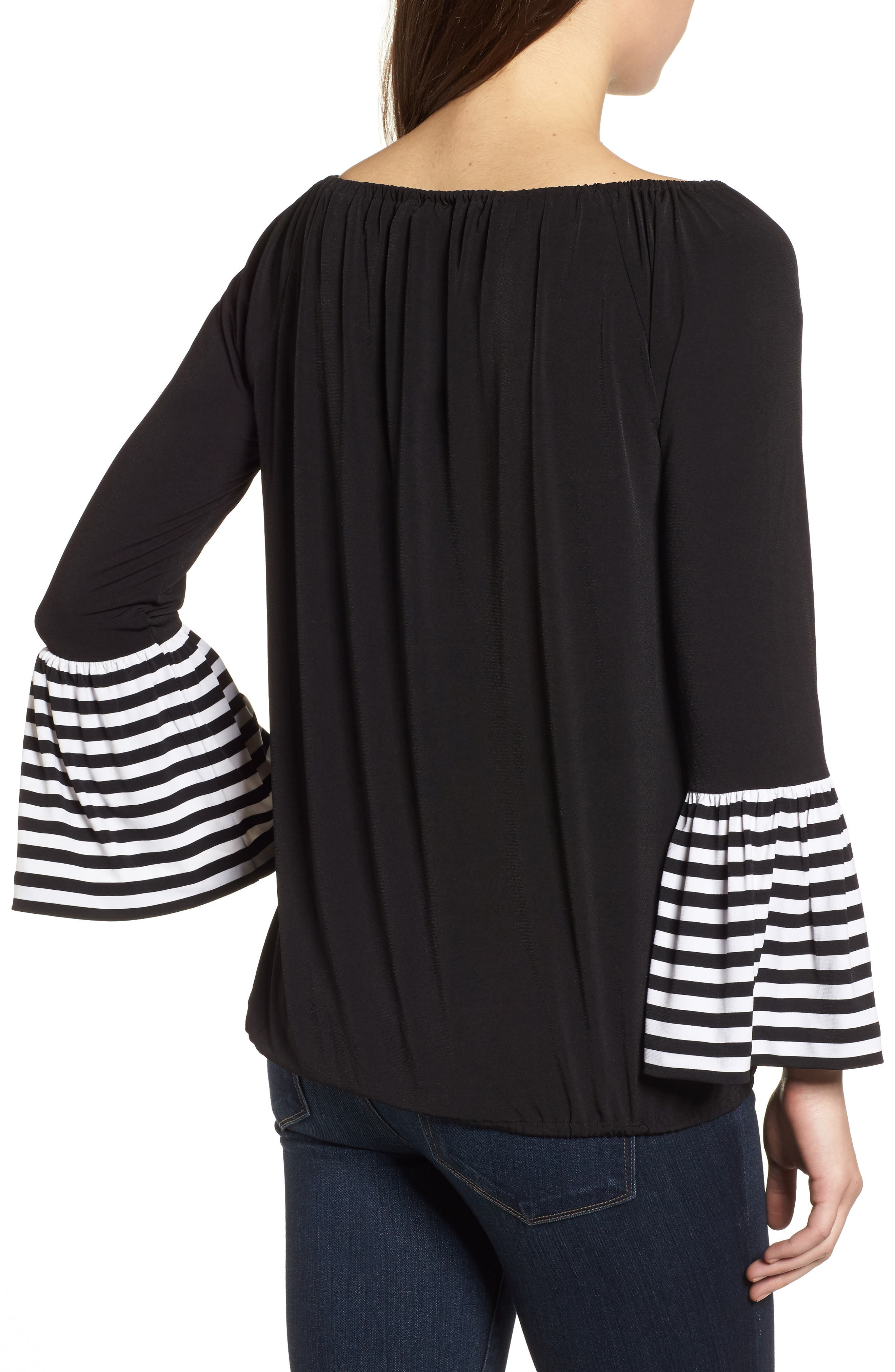 Stripe Cuff Top,                             Alternate thumbnail 2, color,                             Black
