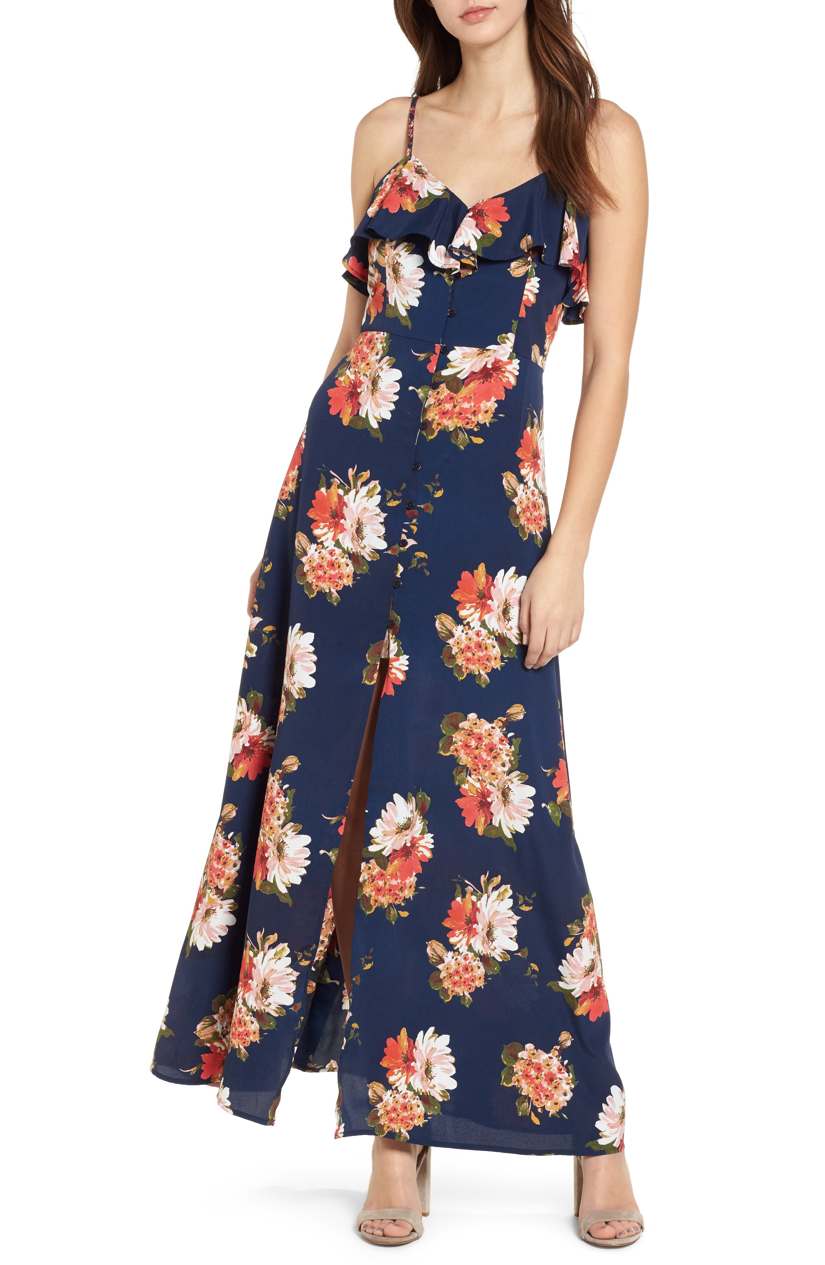 Floral Maxi Dress,                         Main,                         color, Navy Coral