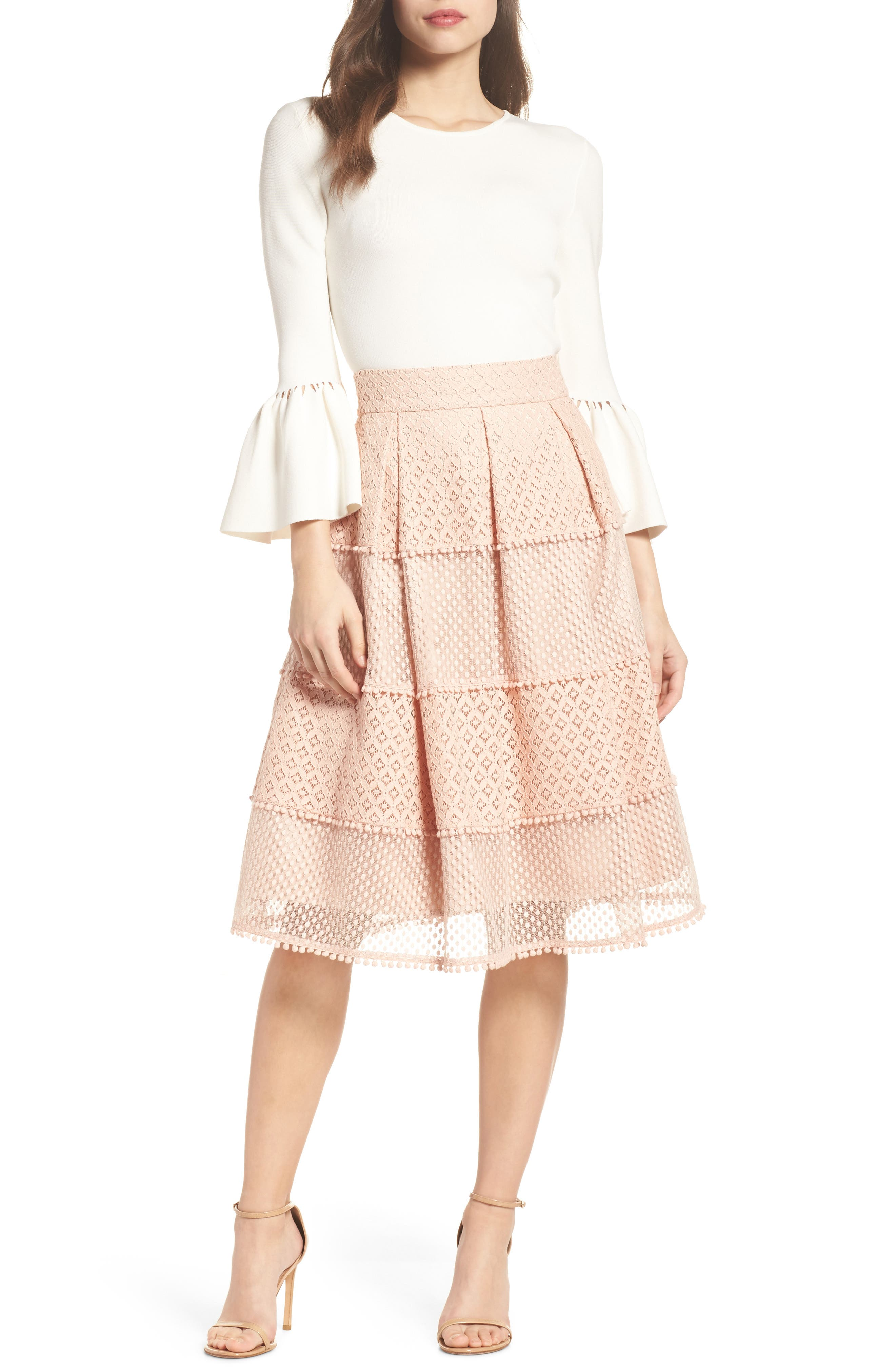 Banded Lace Midi Skirt,                             Alternate thumbnail 7, color,                             Blush