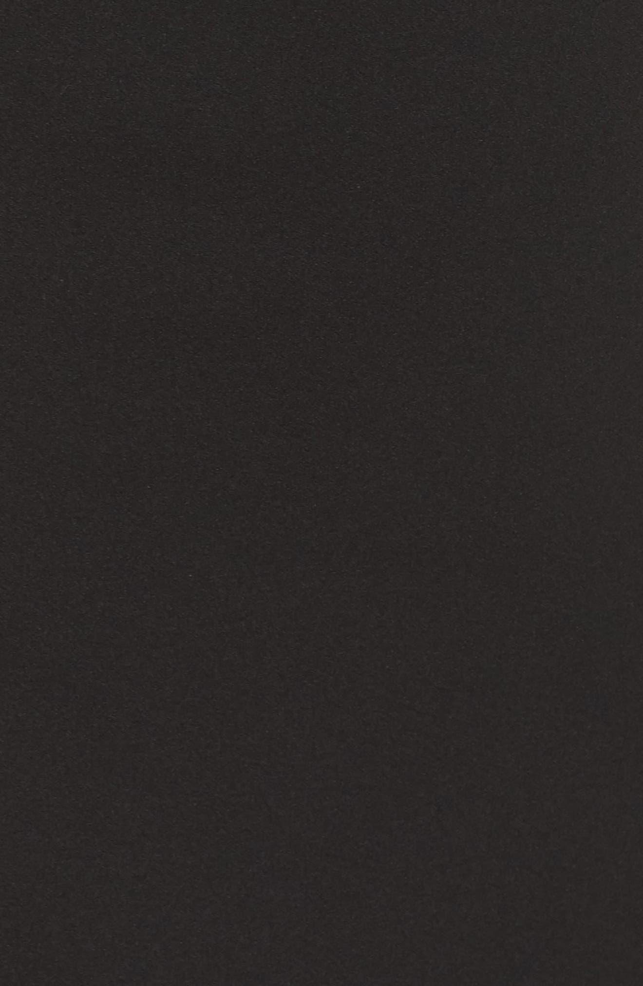 Crepe Ruffle Hem Body-Con Dress,                             Alternate thumbnail 5, color,                             Black