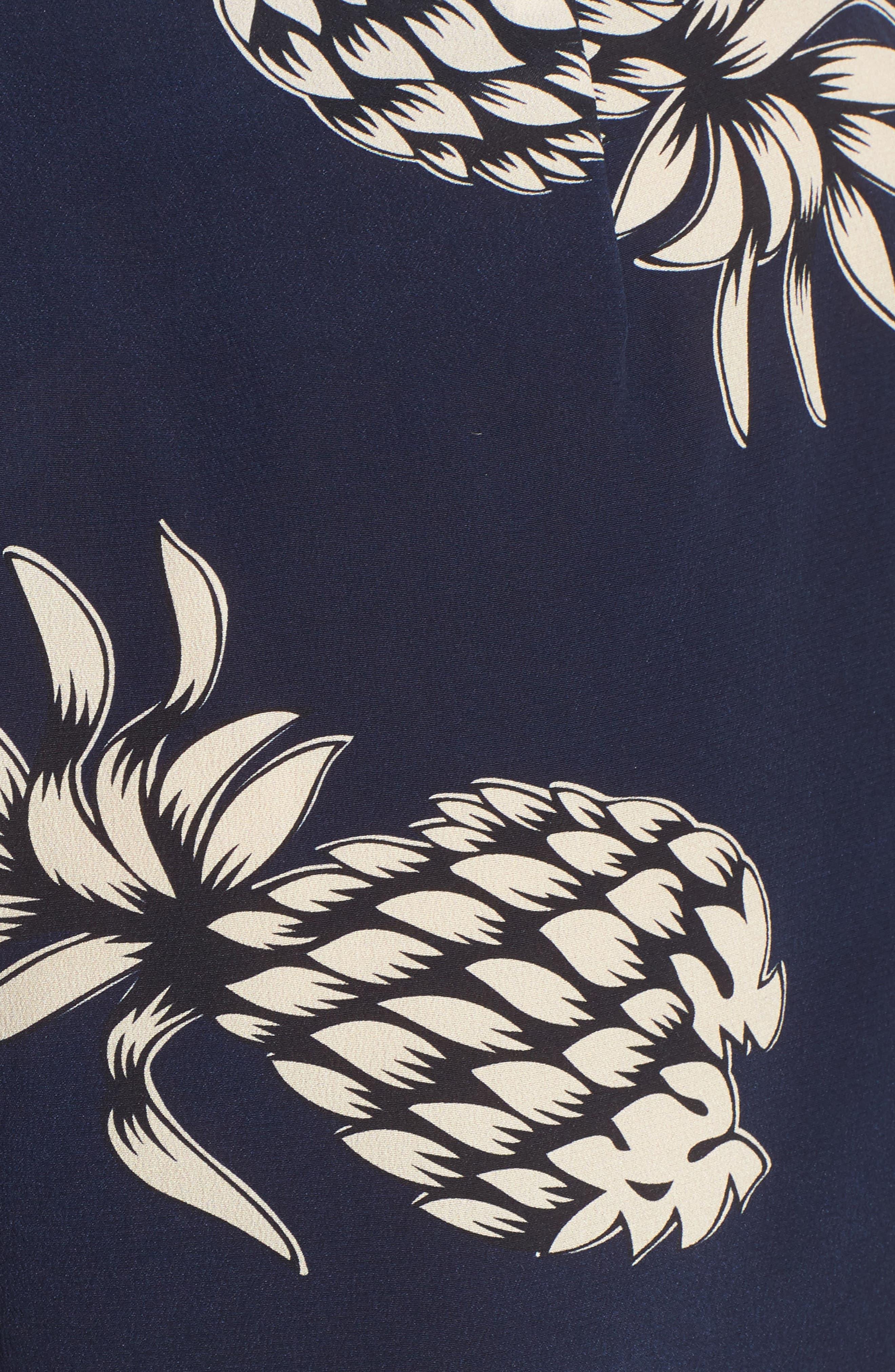 Gigi Print Silk Shorts,                             Alternate thumbnail 5, color,                             Ananas Navy