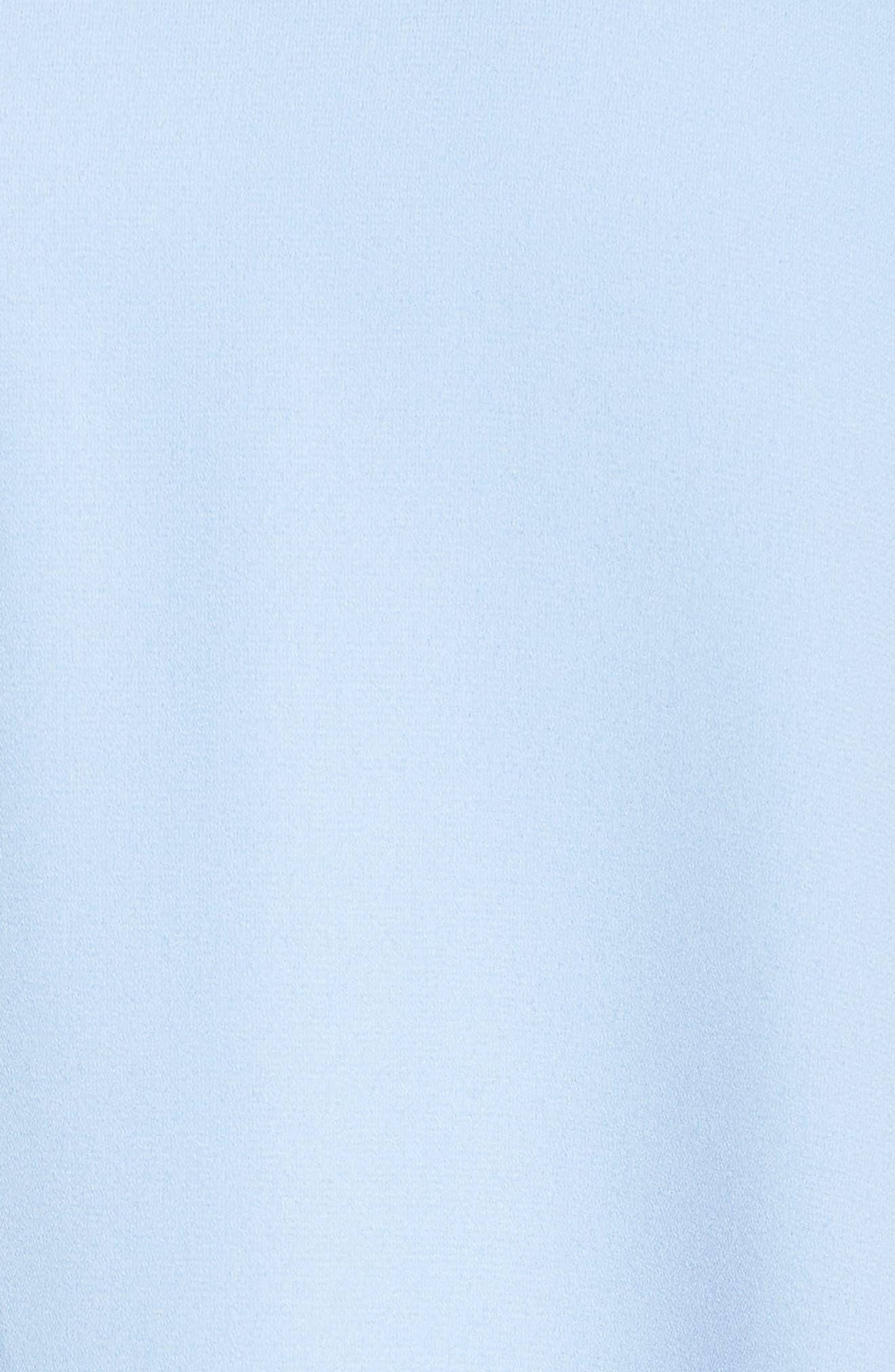 Moss Crepe Roll Neck Ruffle Dress,                             Alternate thumbnail 5, color,                             Light Blue