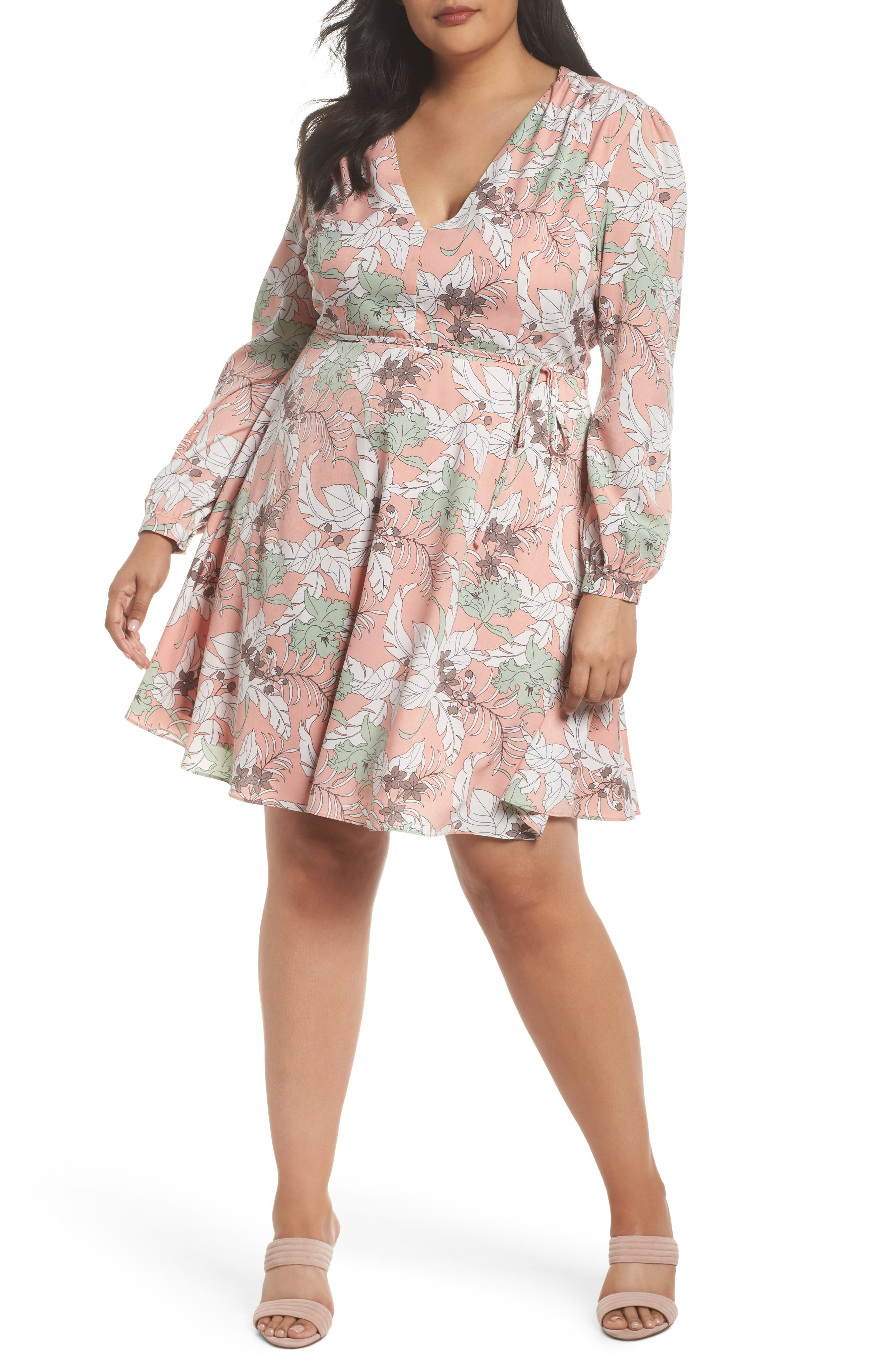 Glamorous Floral Print Tie Waist Dress (Plus Size)