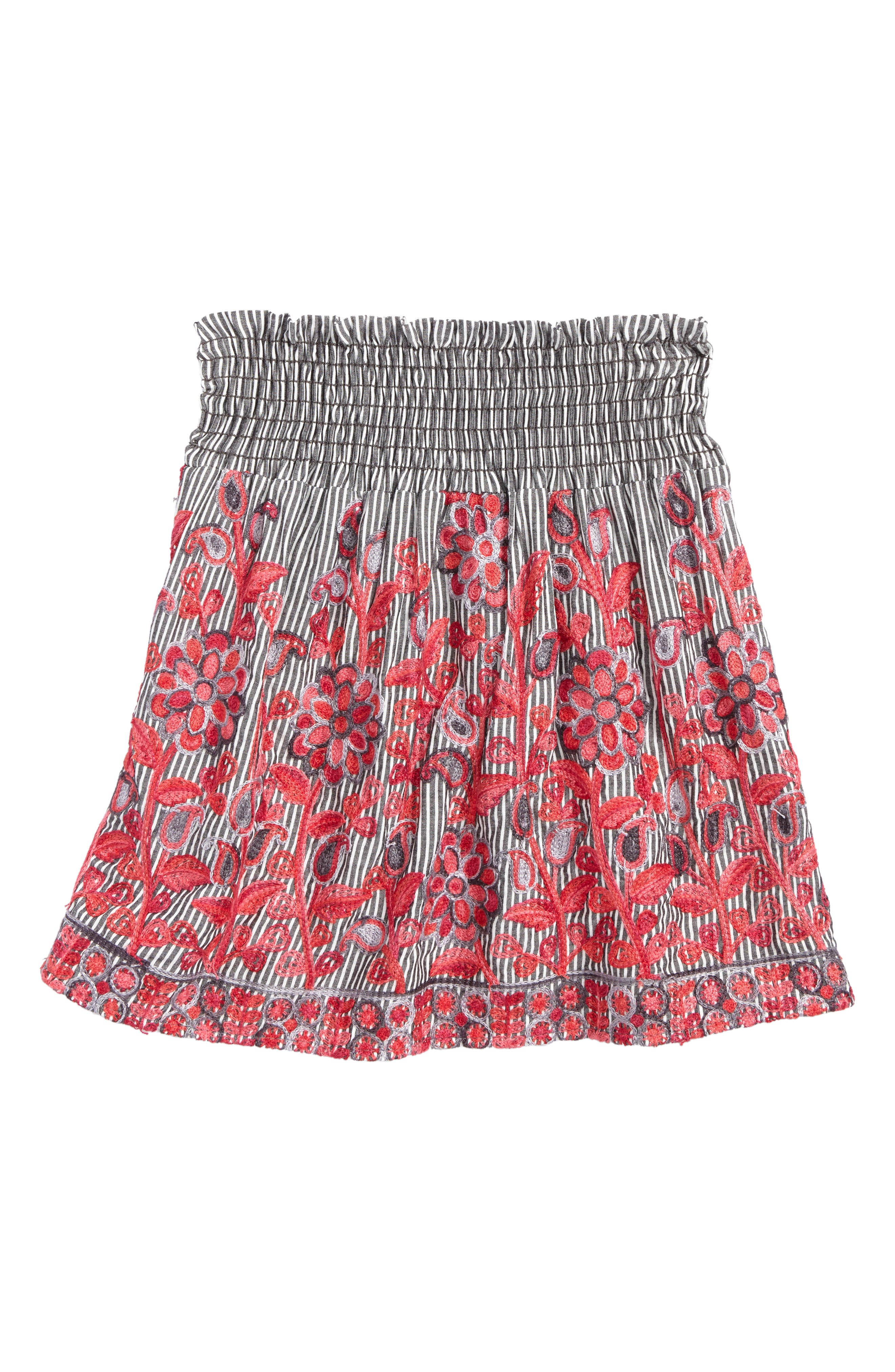 Flower Embroidered Skirt,                         Main,                         color, Grey Ivory