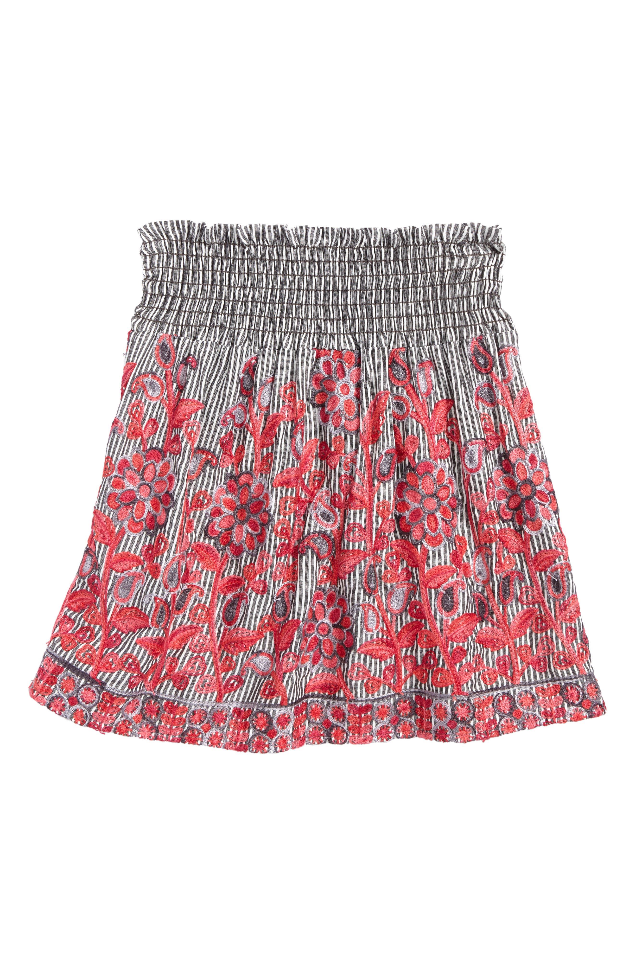 Kiddo Flower Embroidered Skirt (Big Girls)