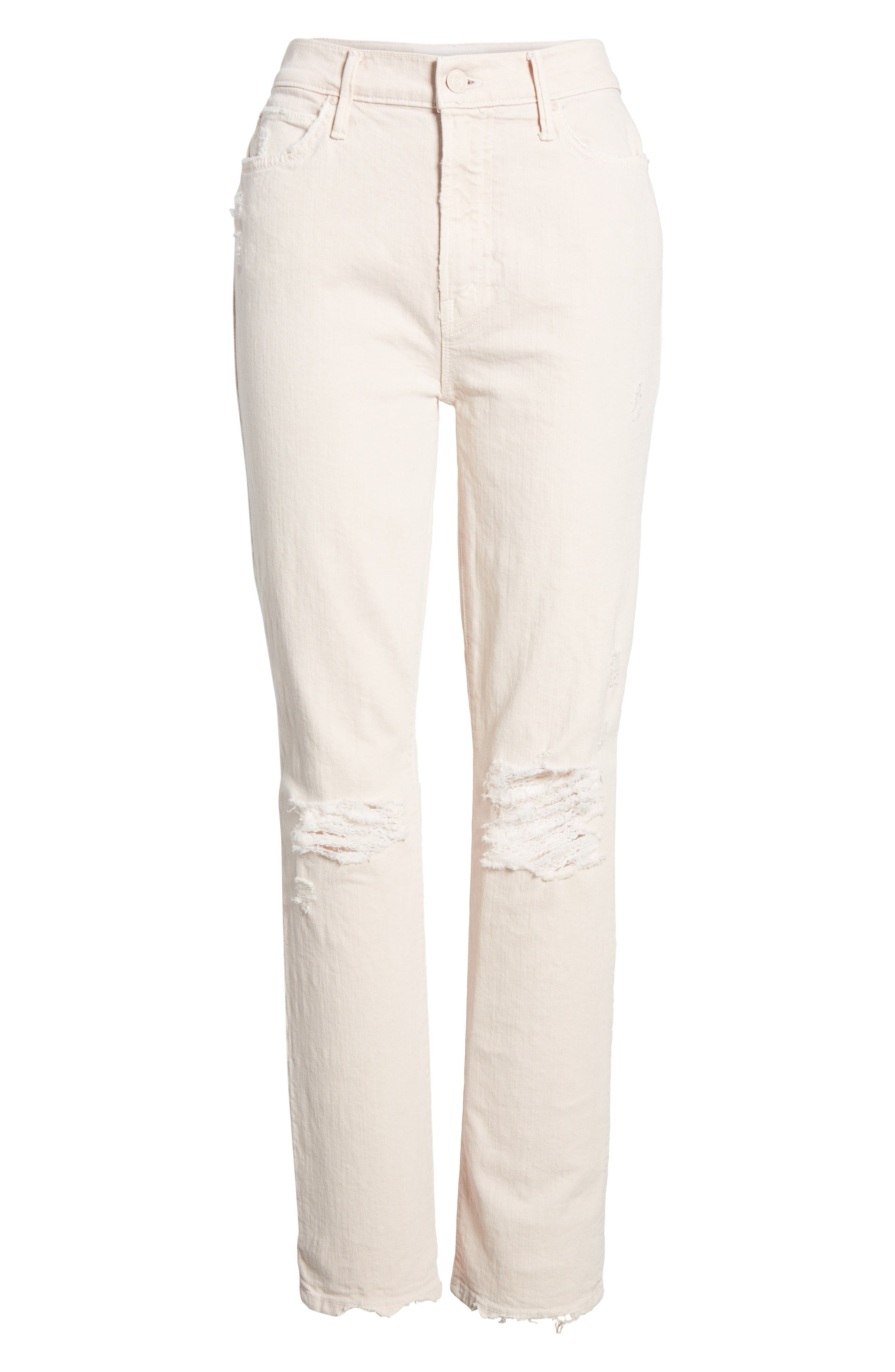 The Rascal High Waist Ankle Straight Leg Jeans,                             Alternate thumbnail 7, color,                             Soft Pink