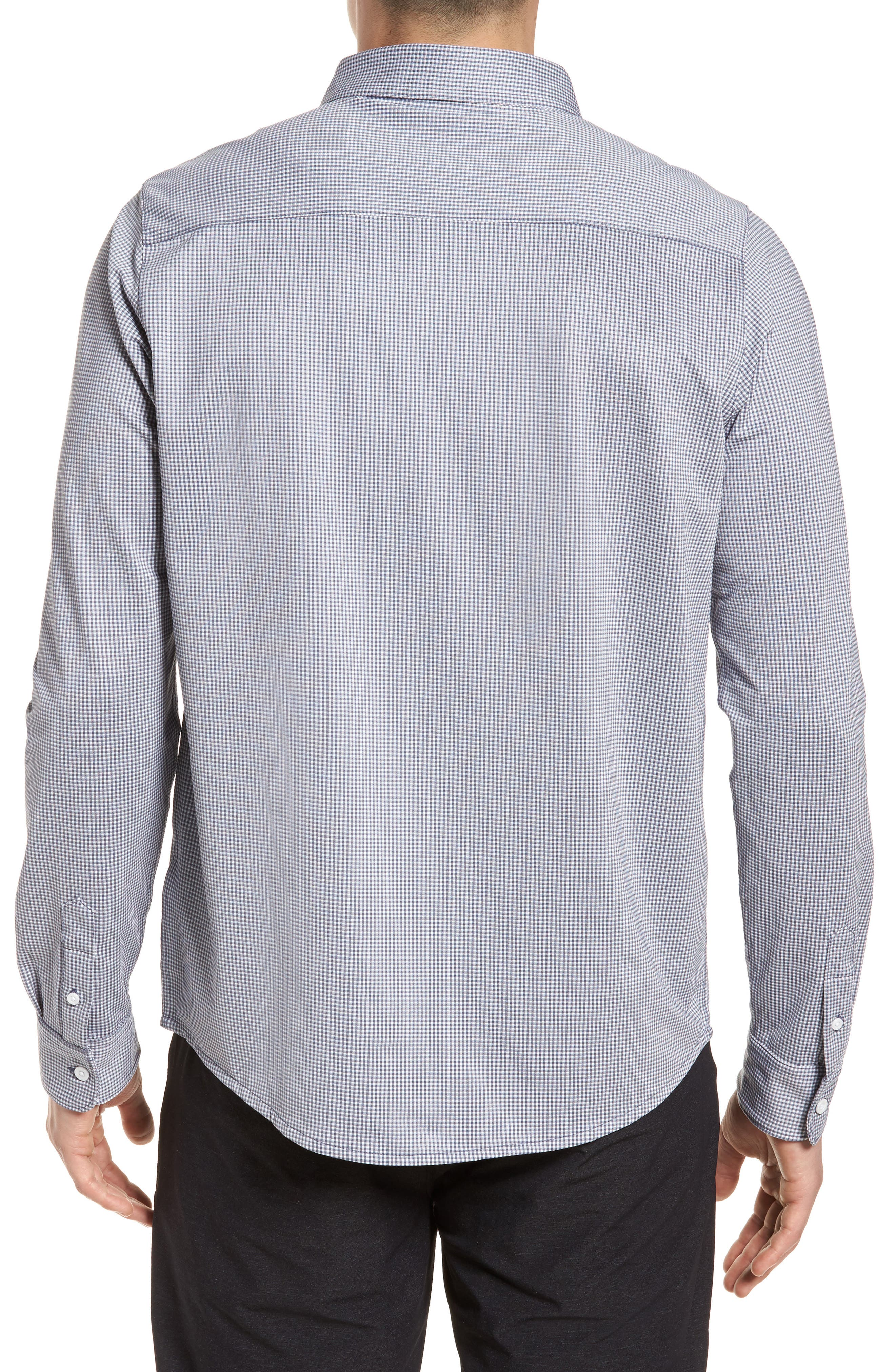 Couig Gingham Sport Shirt,                             Alternate thumbnail 3, color,                             White/ Grisaille