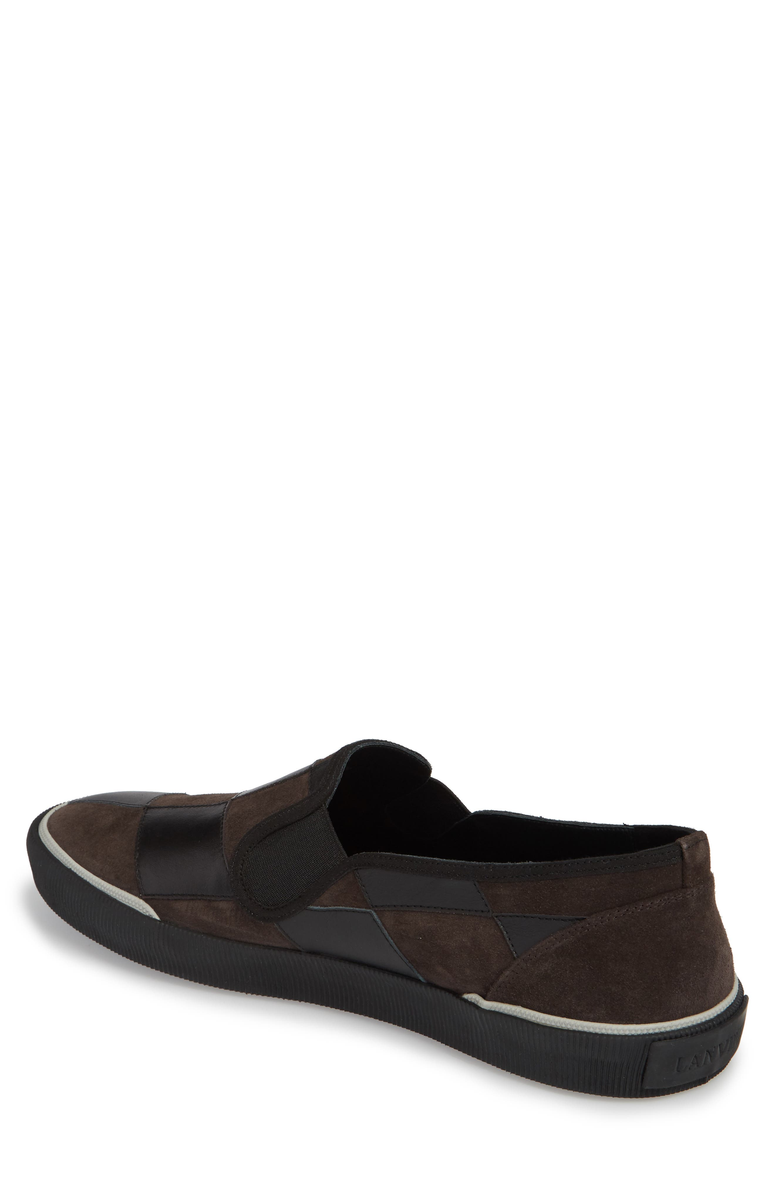 Diamond Patchwork Slip-On Sneaker,                             Alternate thumbnail 2, color,                             Taupe/ Black Leather/ Suede