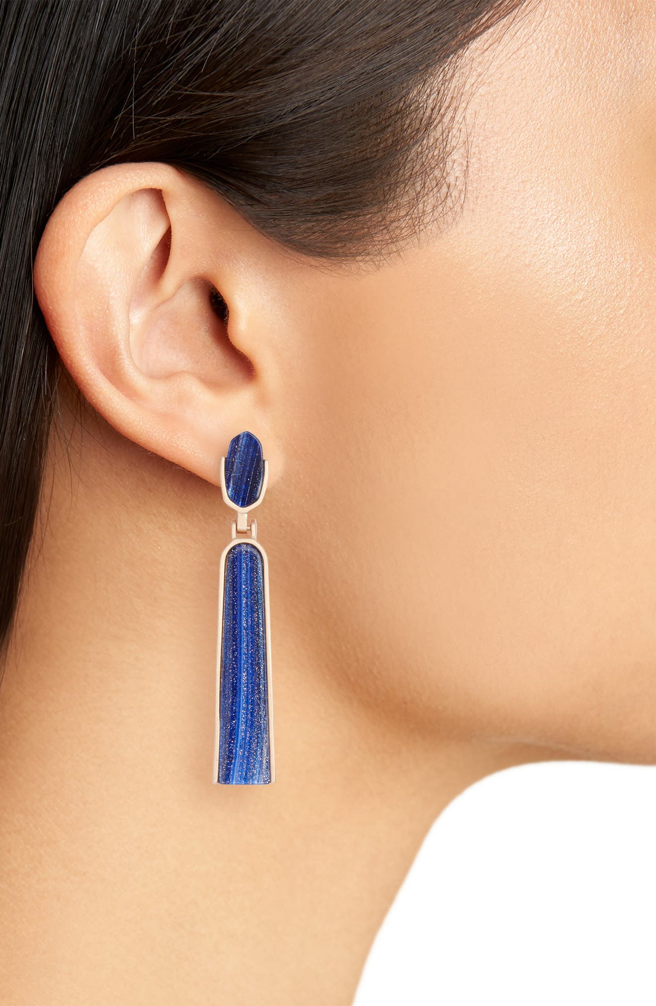 Carson Drop Earrings,                             Alternate thumbnail 2, color,                             Navy Dusted Glass/ Rose Gold