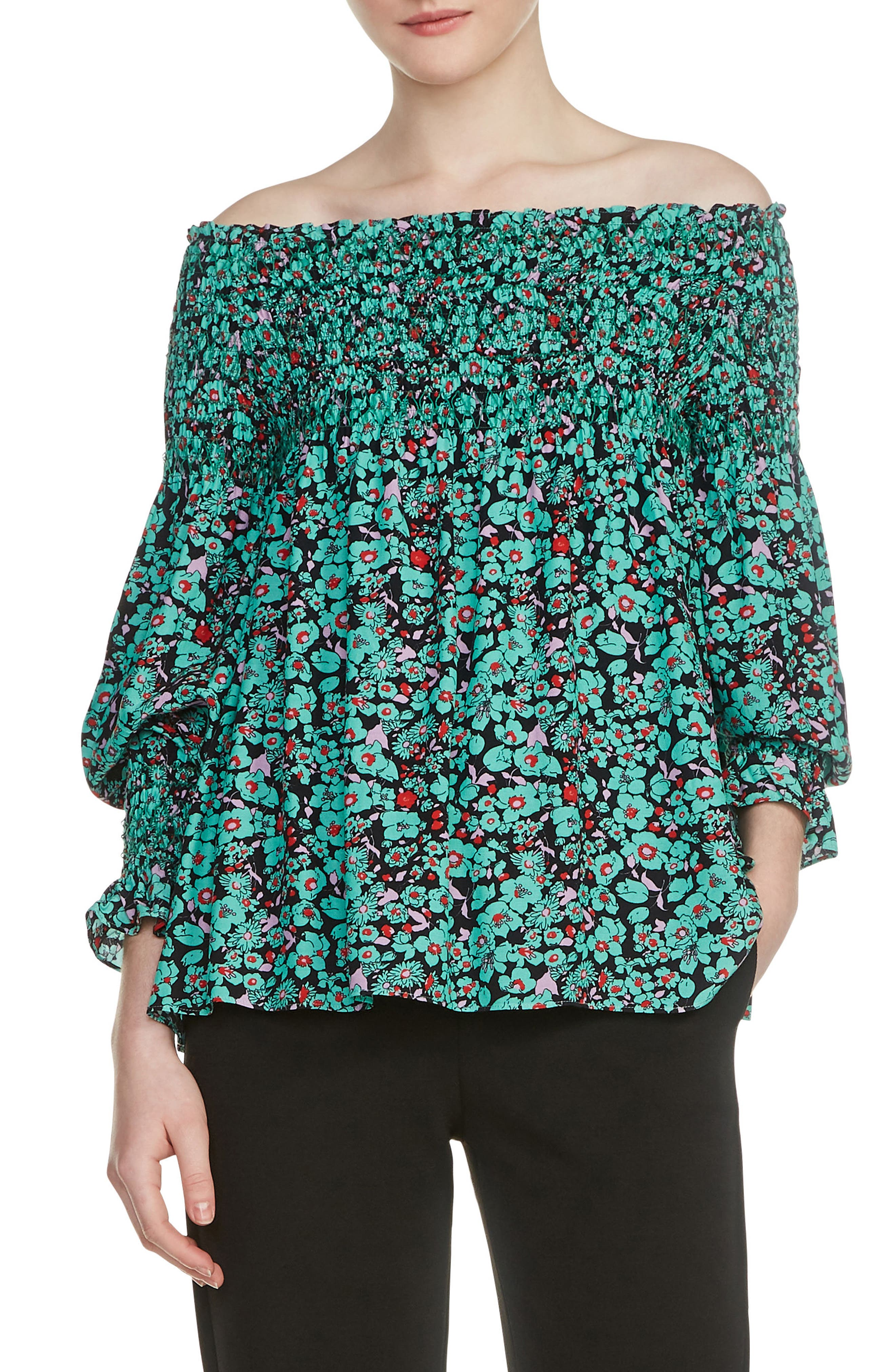 Lafine Off the Shoulder Top,                             Main thumbnail 1, color,                             Printed