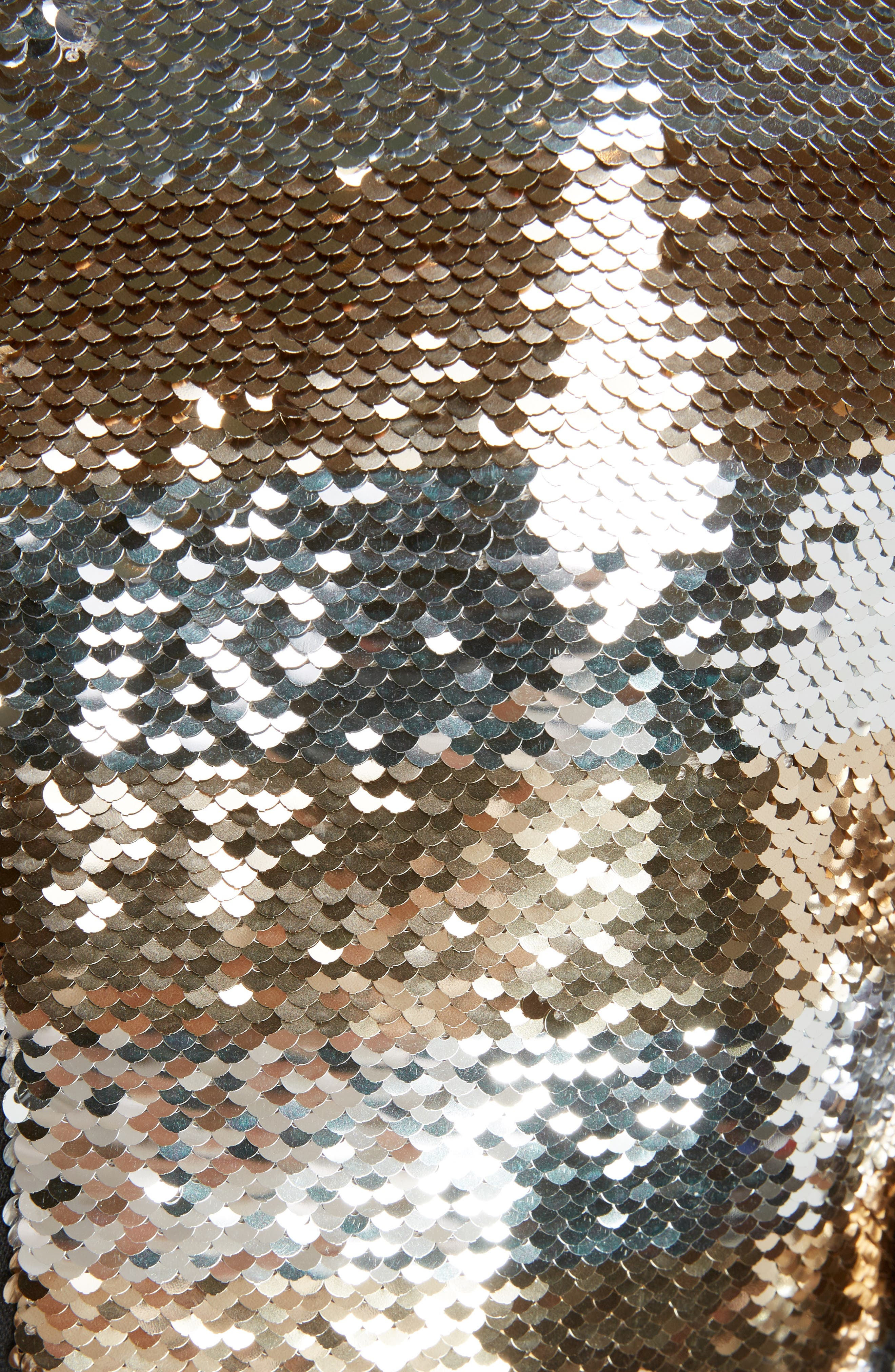 Sequin Stripe Minidress,                             Alternate thumbnail 5, color,                             Argent Dore