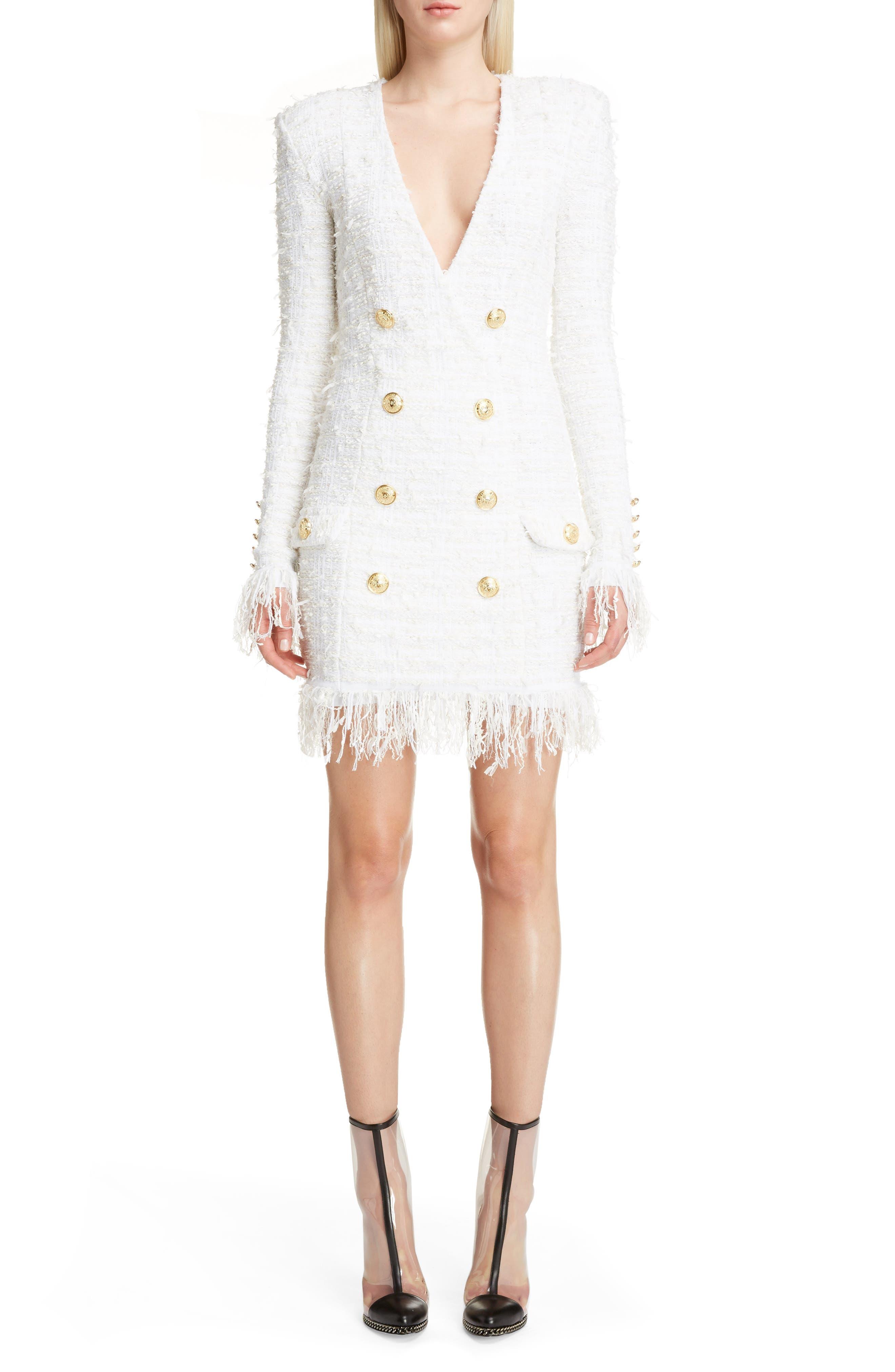 Fringe Tweed Dress,                             Main thumbnail 1, color,                             White