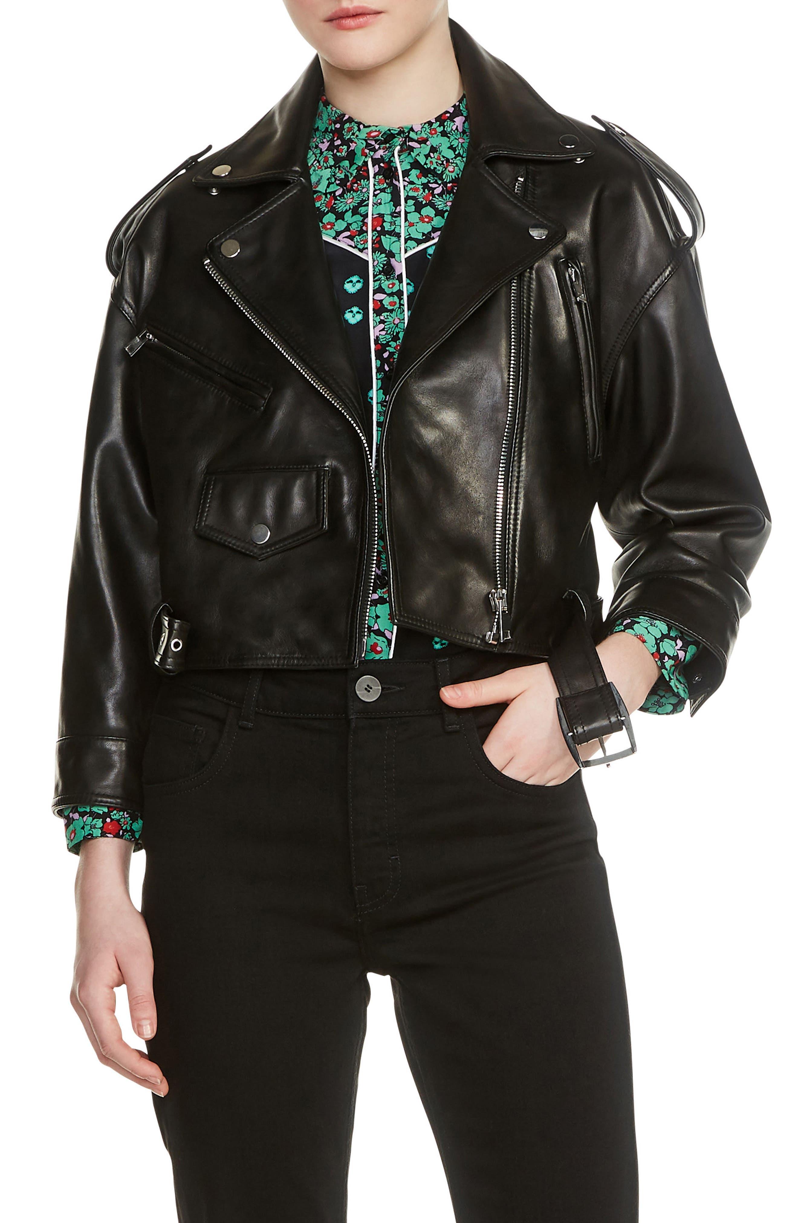 Lambskin Leather Moto Jacket,                         Main,                         color, Black 210