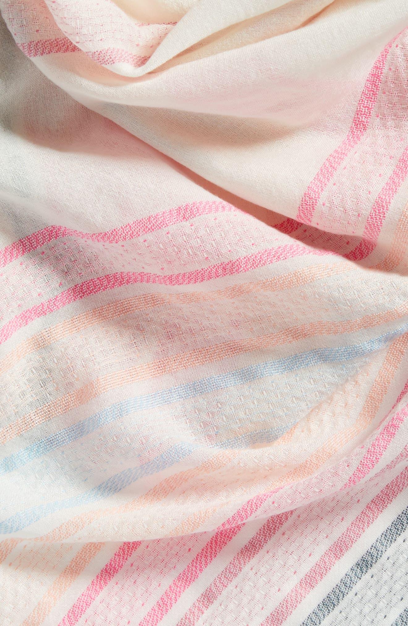 Textured Stripe Square Scarf,                             Alternate thumbnail 4, color,                             White