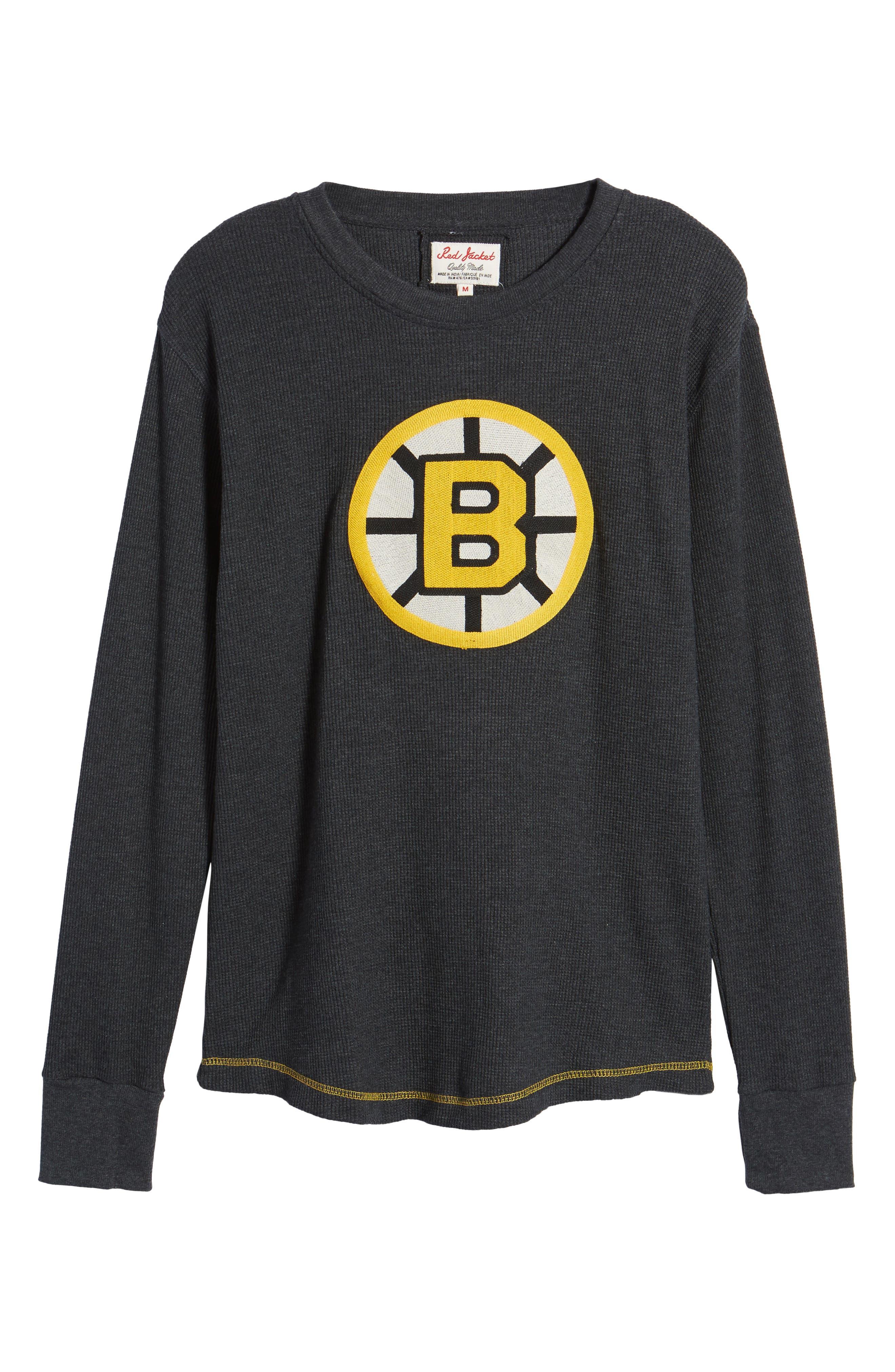 Boston Bruins Embroidered Long Sleeve Thermal Shirt,                             Alternate thumbnail 6, color,                             Black