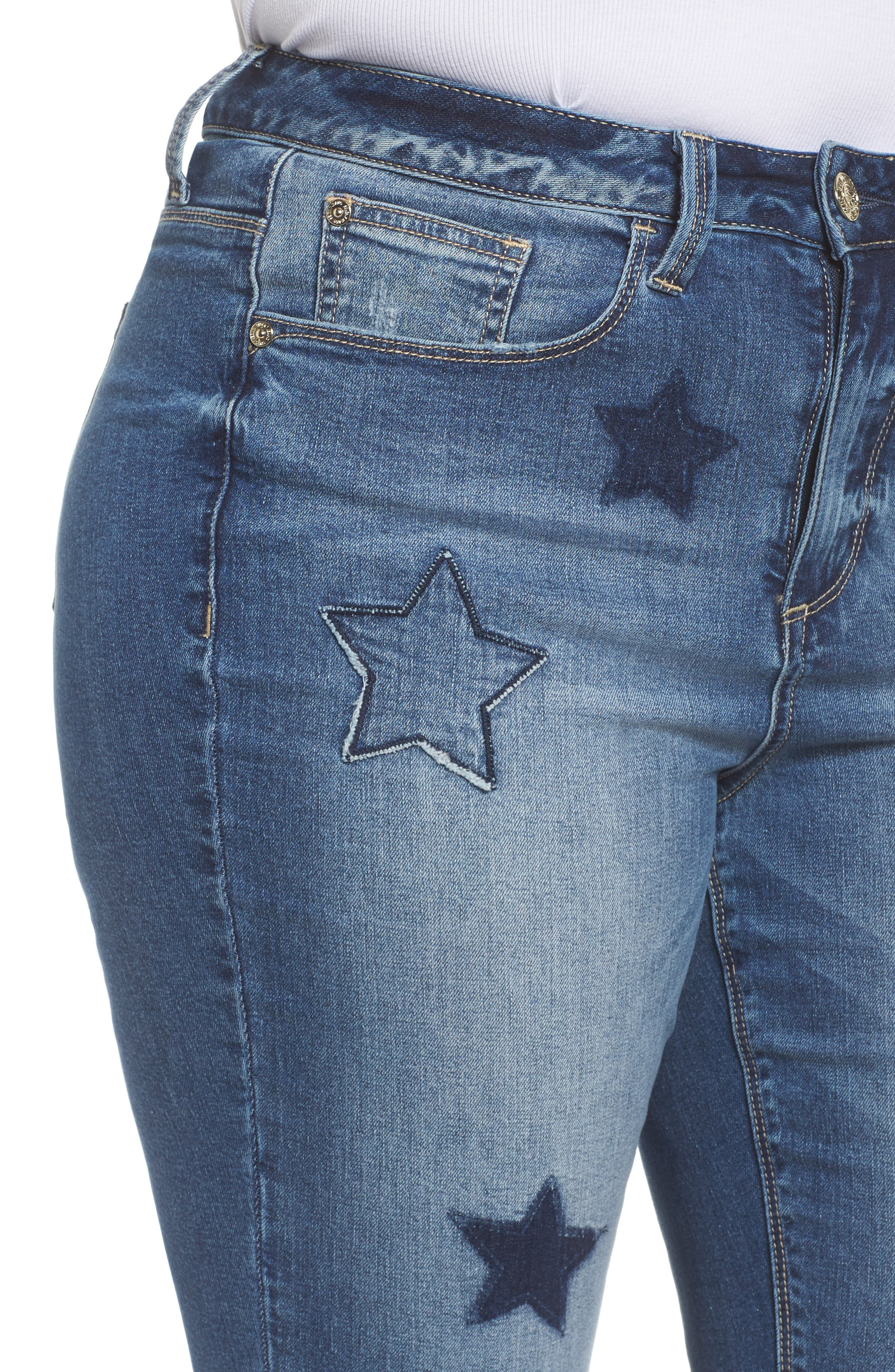 Star Patched Straight Leg Crop Jeans,                             Alternate thumbnail 4, color,                             Capri