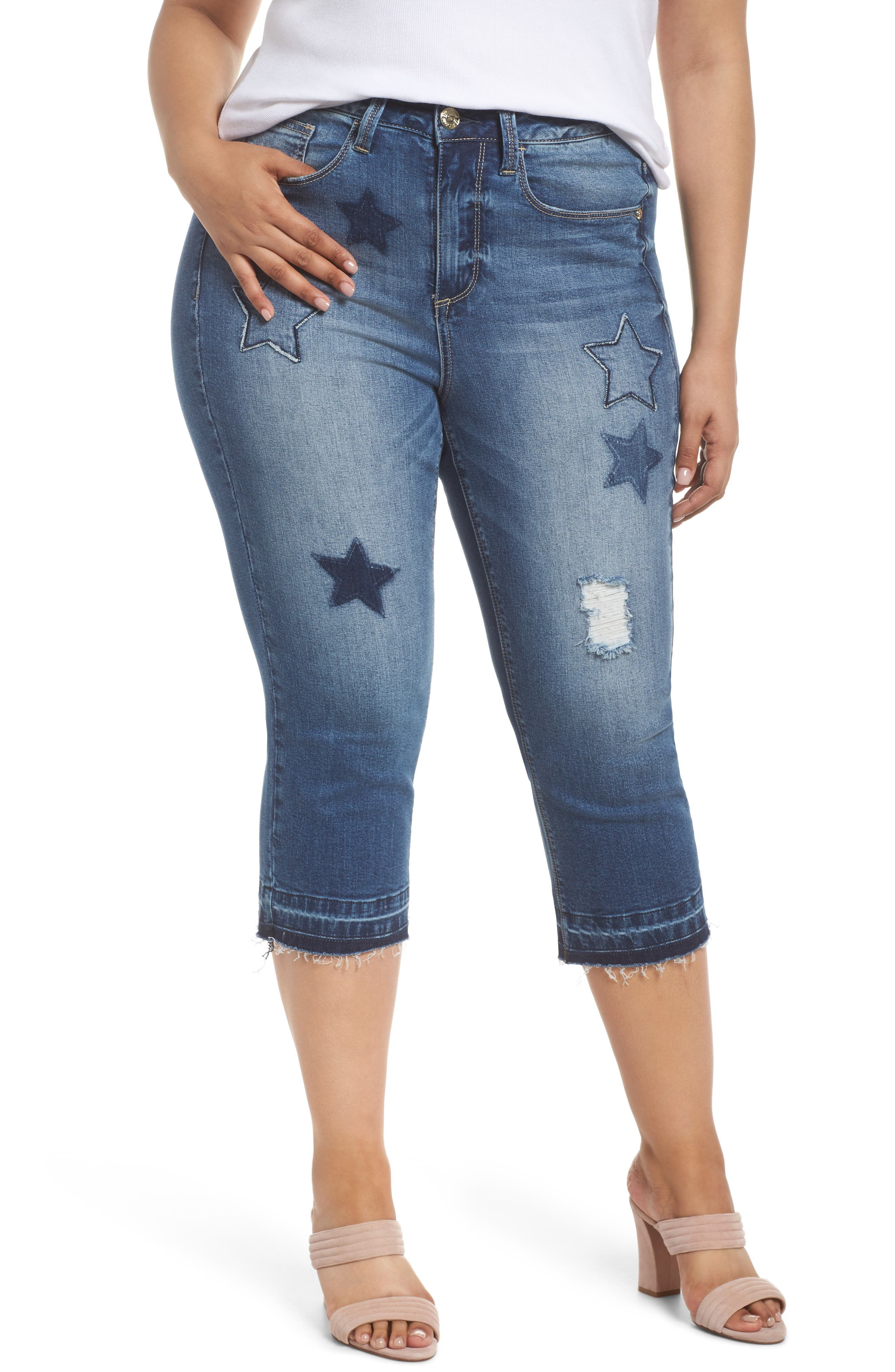 Star Patched Straight Leg Crop Jeans,                             Main thumbnail 1, color,                             Capri