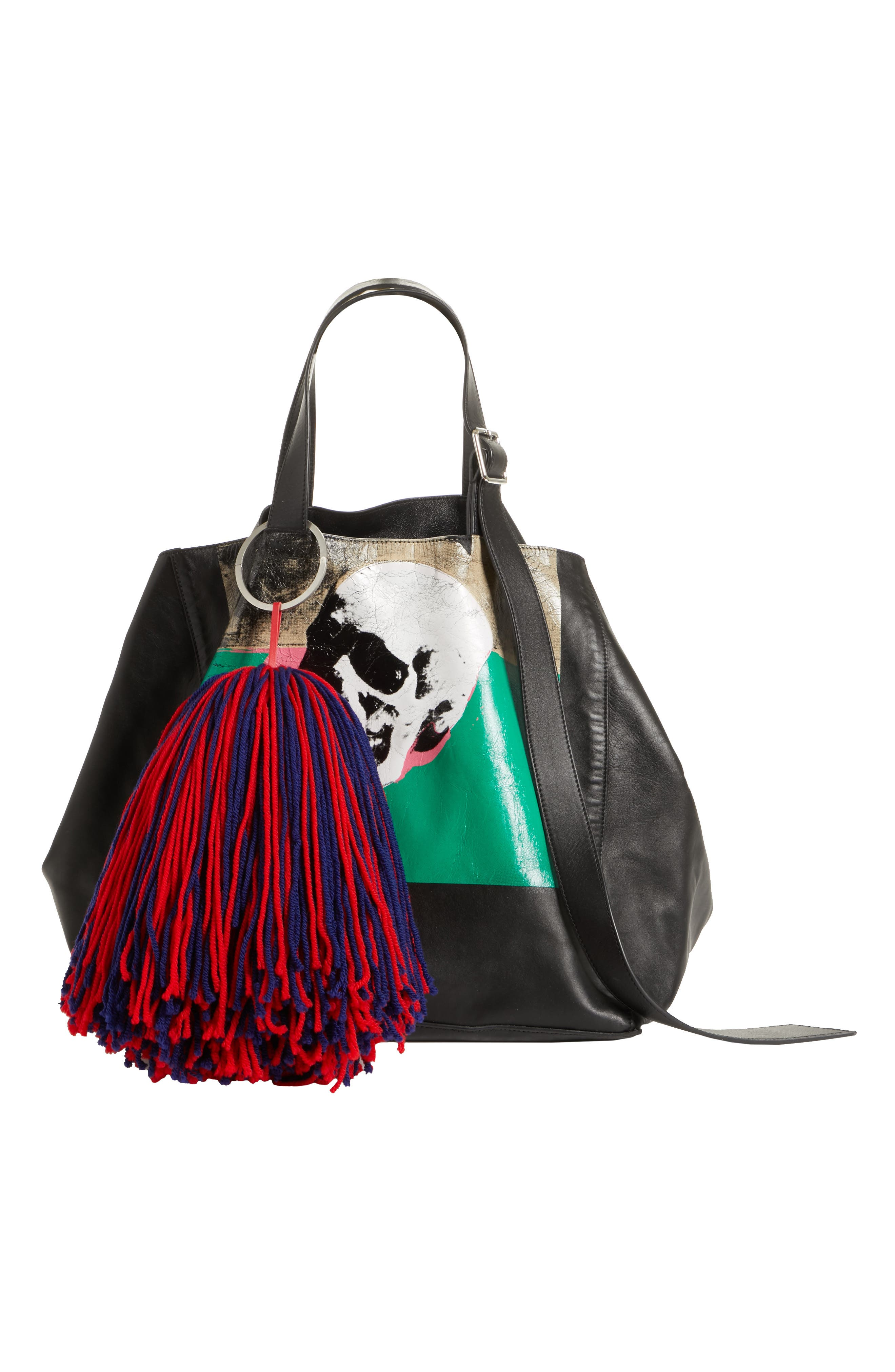 Pompom Bag Charm,                             Alternate thumbnail 2, color,                             Red Ombre