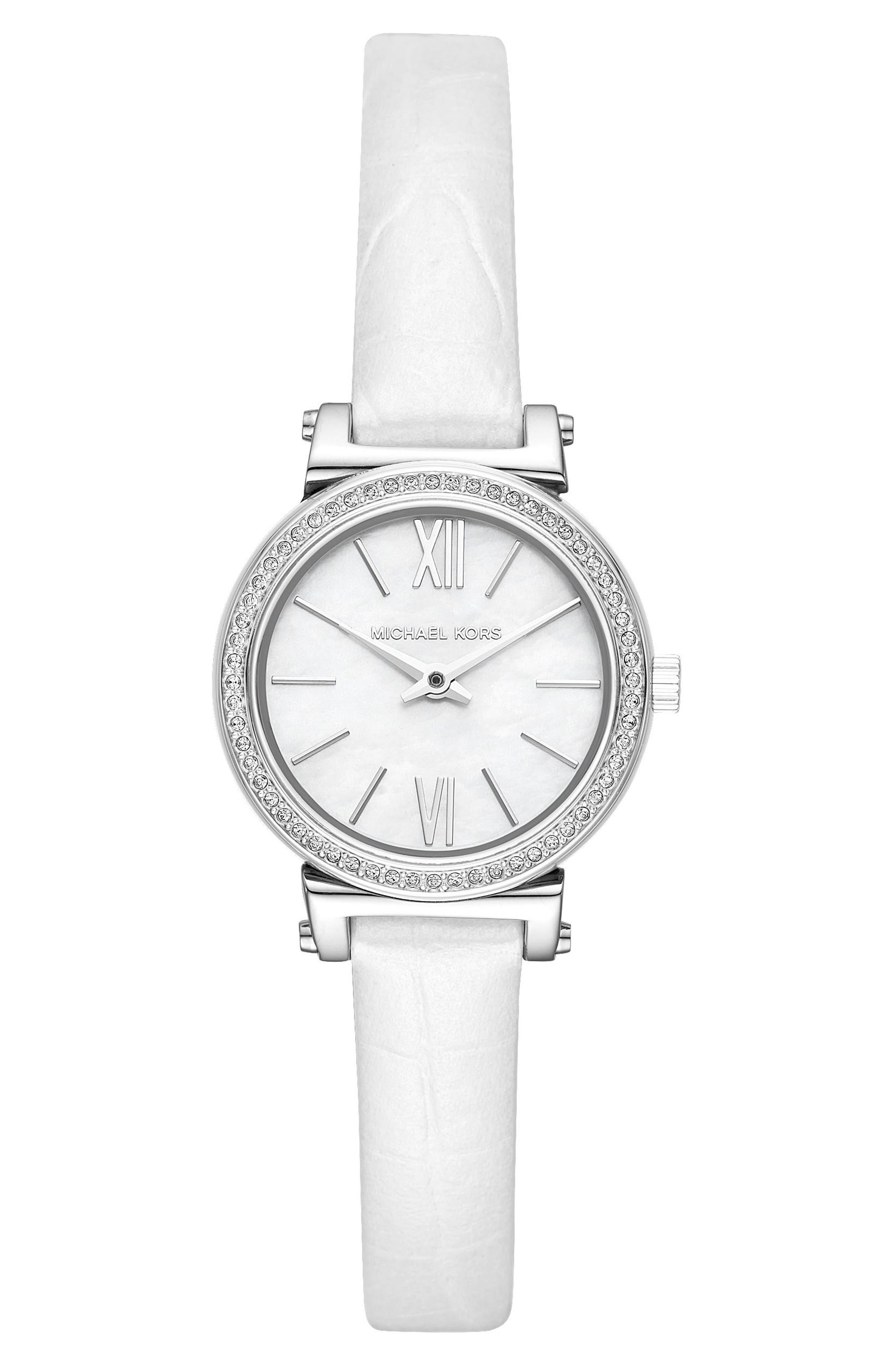 Sofie Crystal Leather Strap Watch, 26mm,                             Main thumbnail 1, color,                             White/ Mop/ Silver