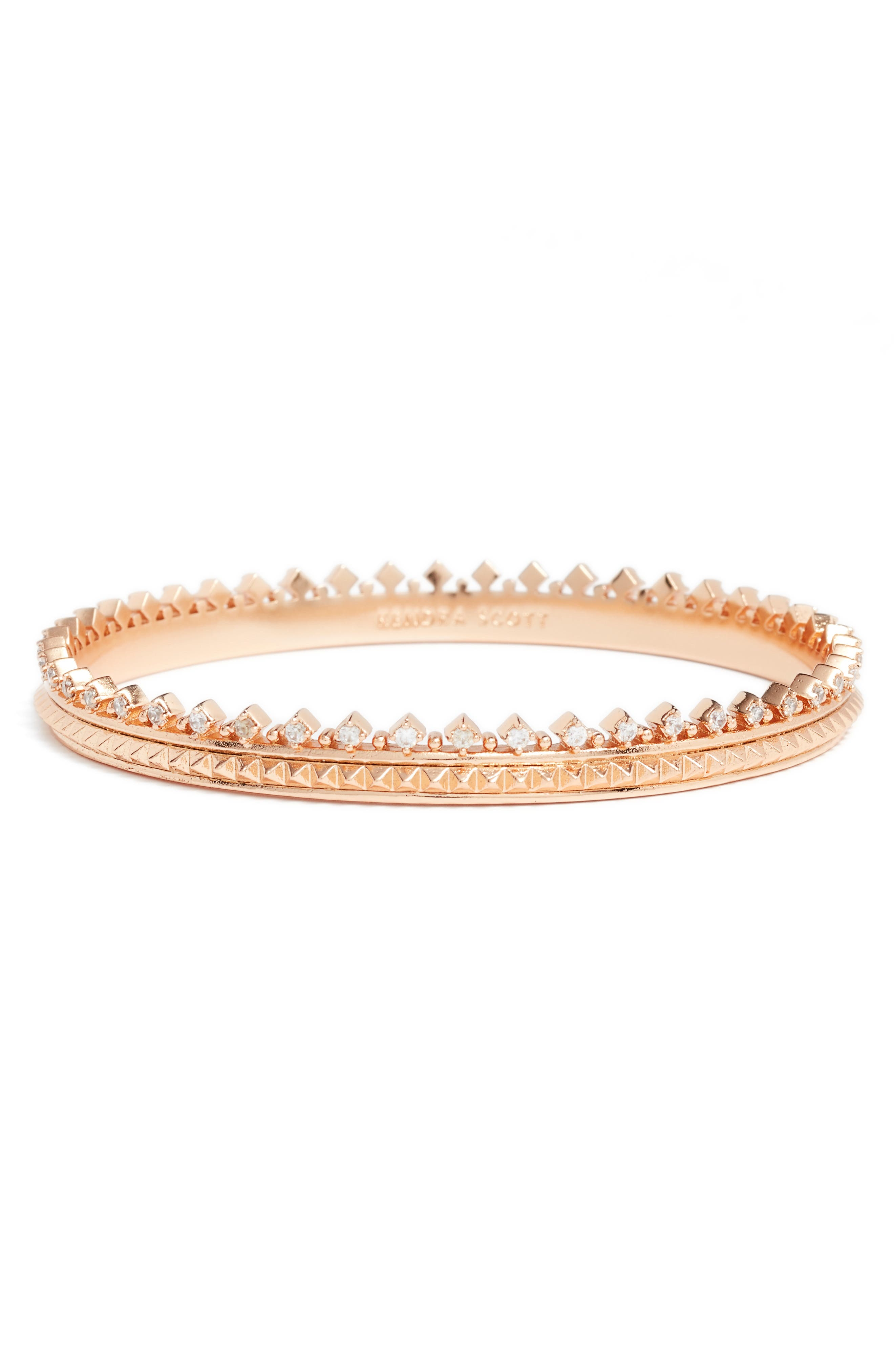 Mary Caroline Crystal Pyramid Cuff Bracelet,                             Main thumbnail 1, color,                             Rose Gold