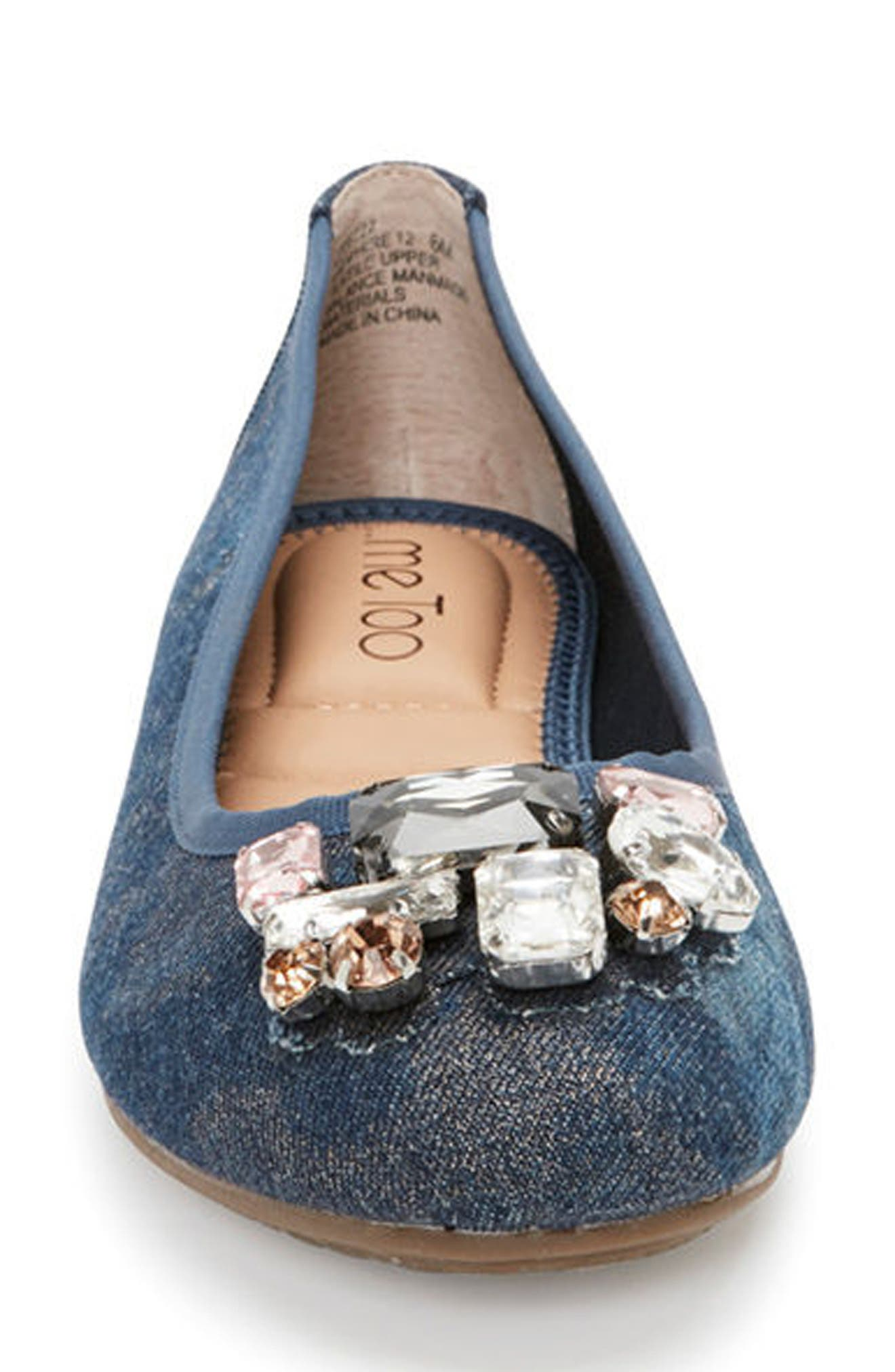 Sapphire Crystal Embellished Flat,                             Alternate thumbnail 4, color,                             Blue Champagne Denim Fabric