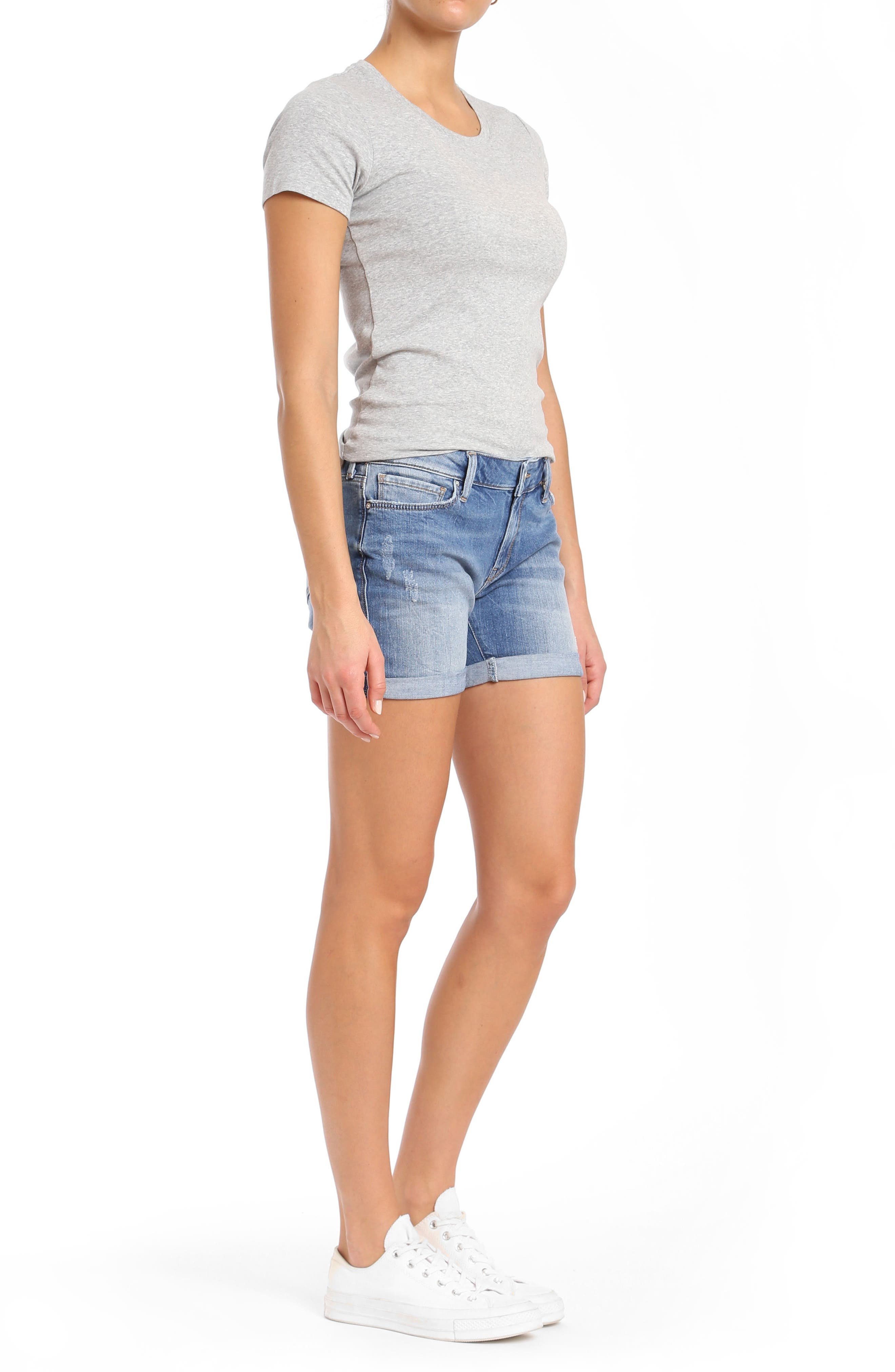 Pixie Denim Boyfriend Shorts,                             Alternate thumbnail 4, color,                             Distressed Vintage