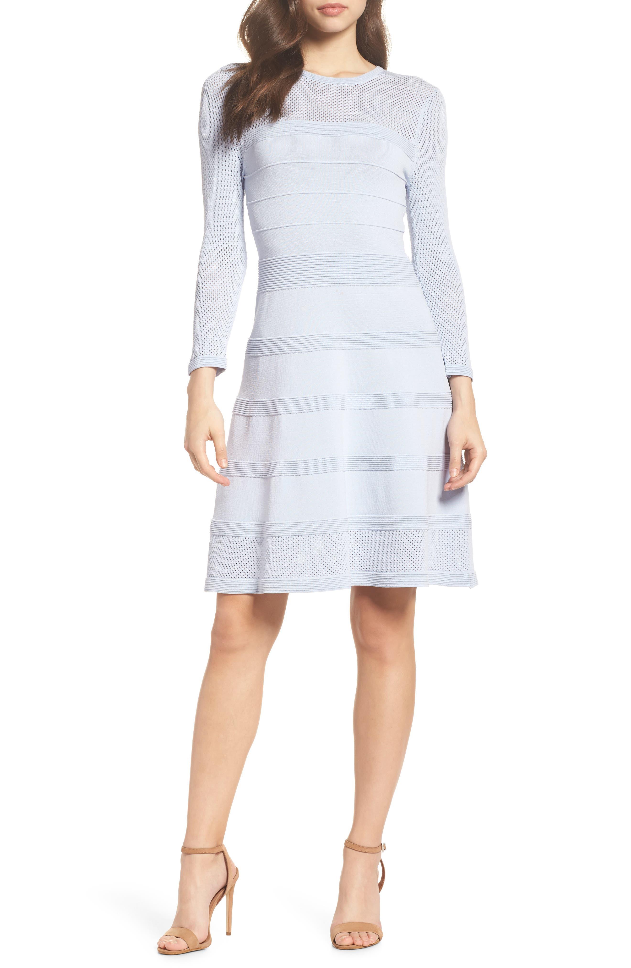 Mix Stitch Pointelle Fit & Flare Dress,                             Main thumbnail 1, color,                             Blue
