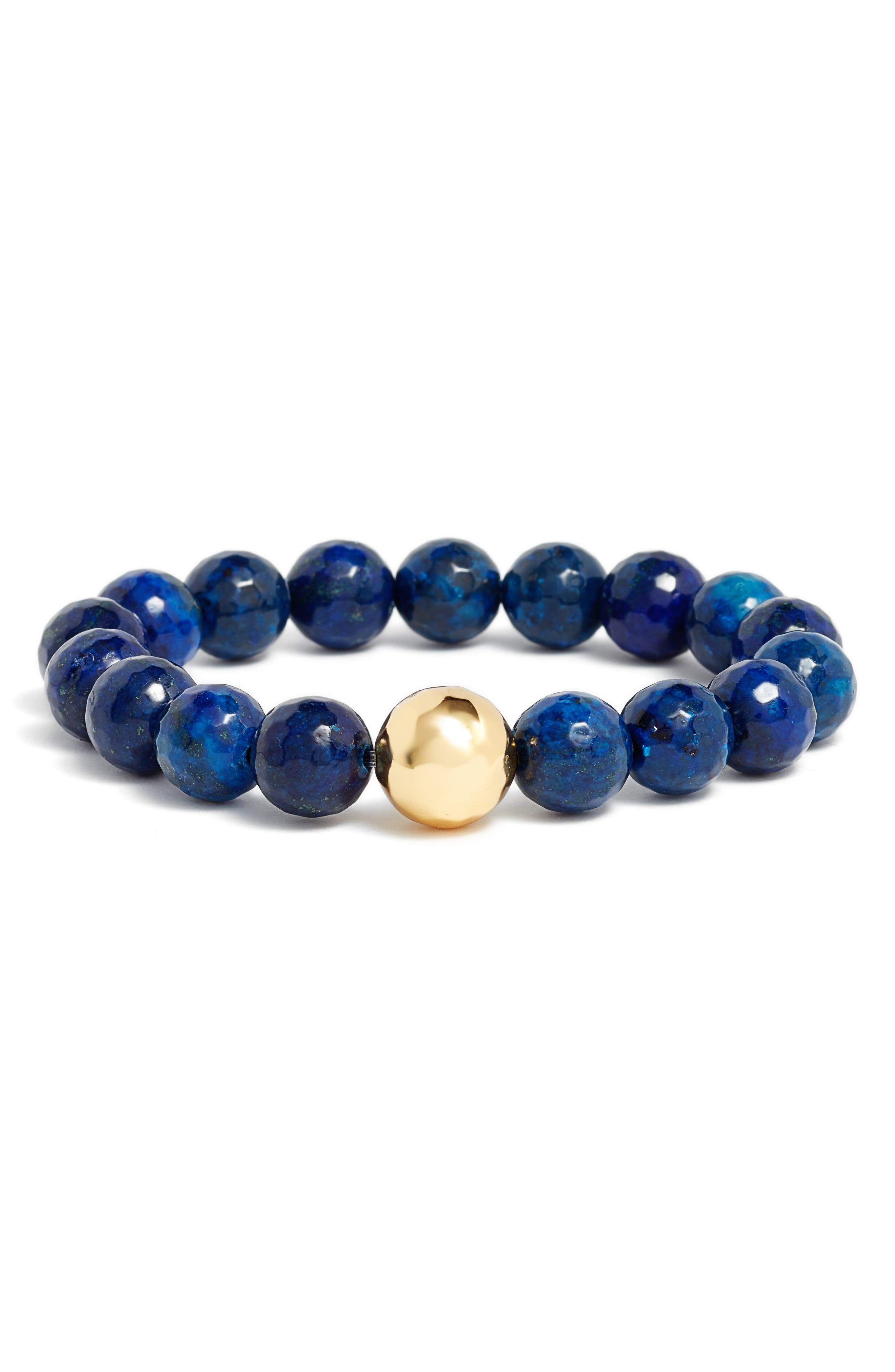 Power Gemstone Lapis for Wisdom Bracelet,                         Main,                         color, Lapis/ Gold
