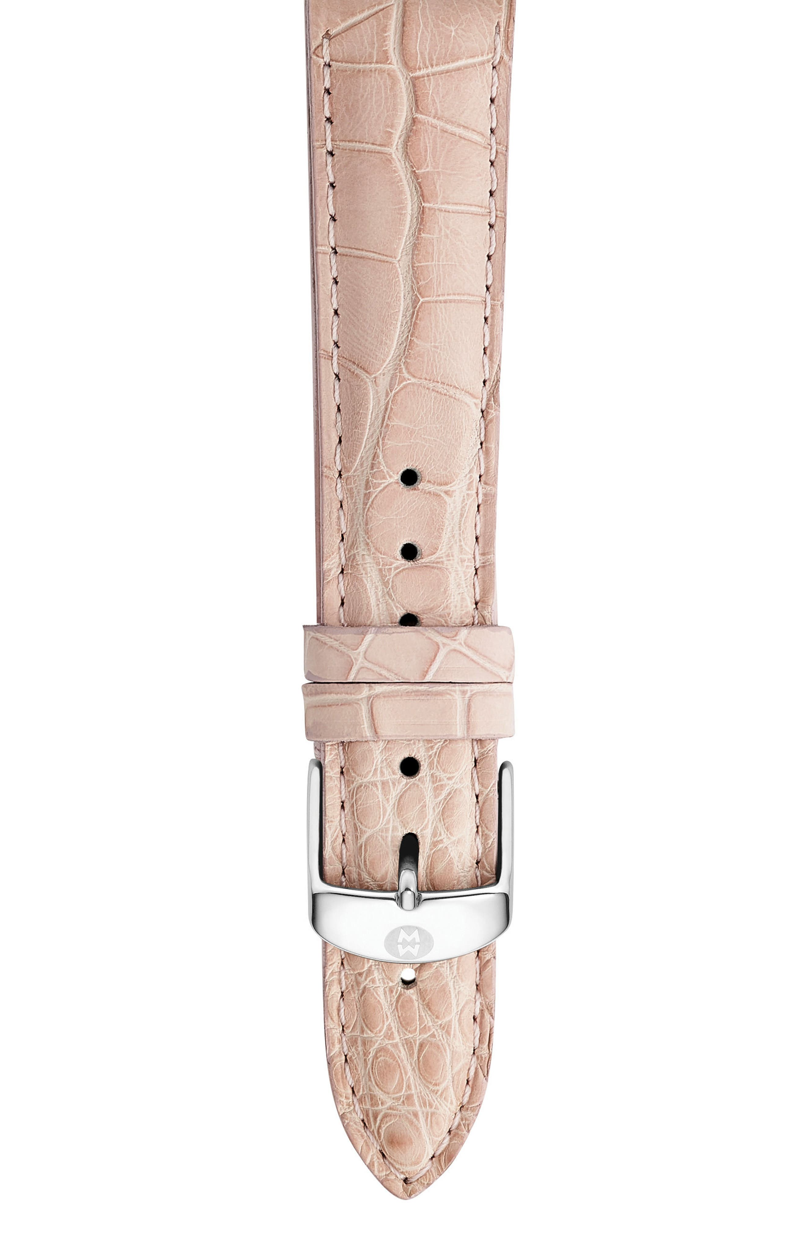 18mm Alligator Watch Strap,                         Main,                         color, Blush Pink