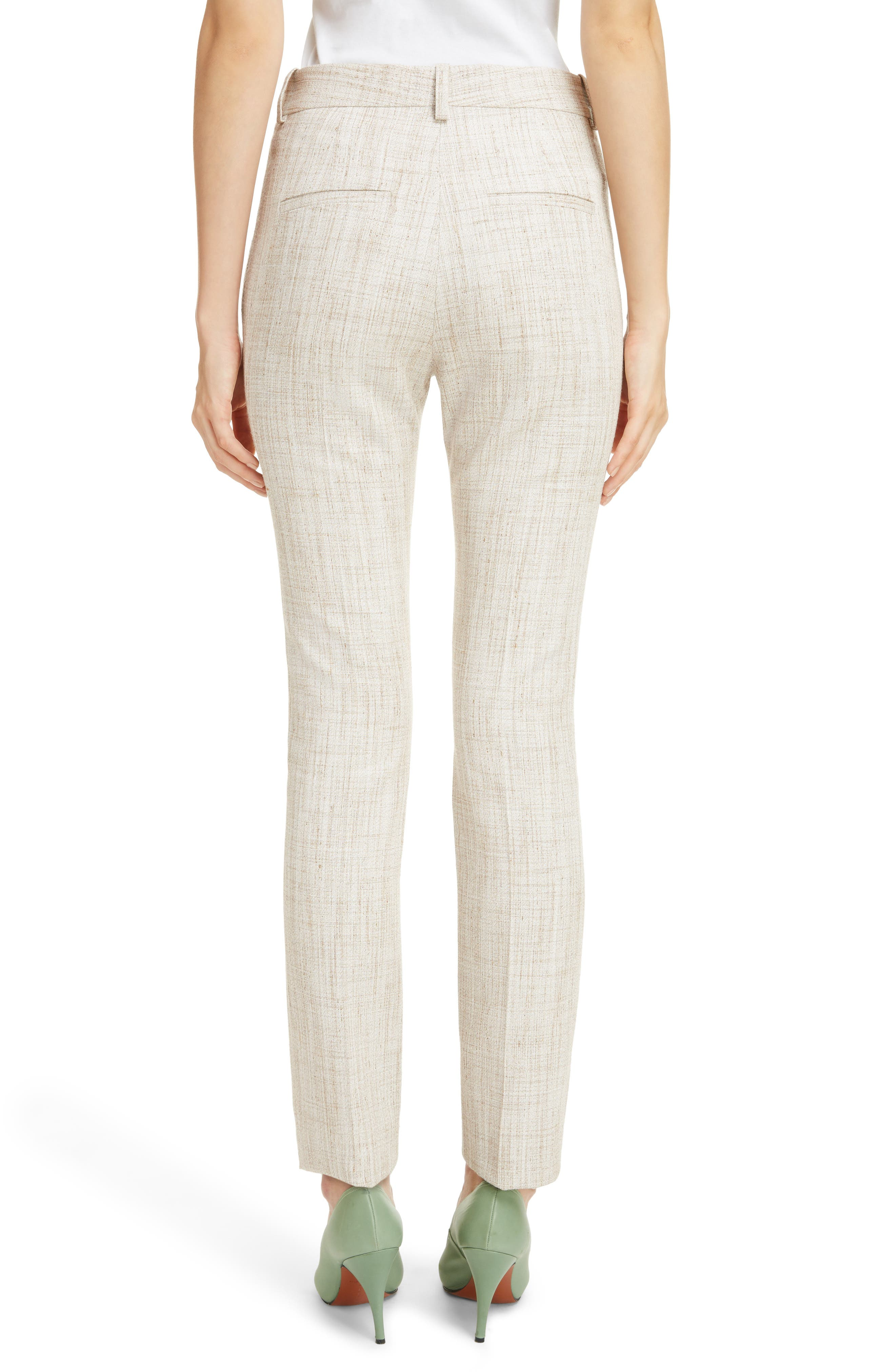 Tweed Slim Leg Trousers,                             Alternate thumbnail 2, color,                             White-Beige