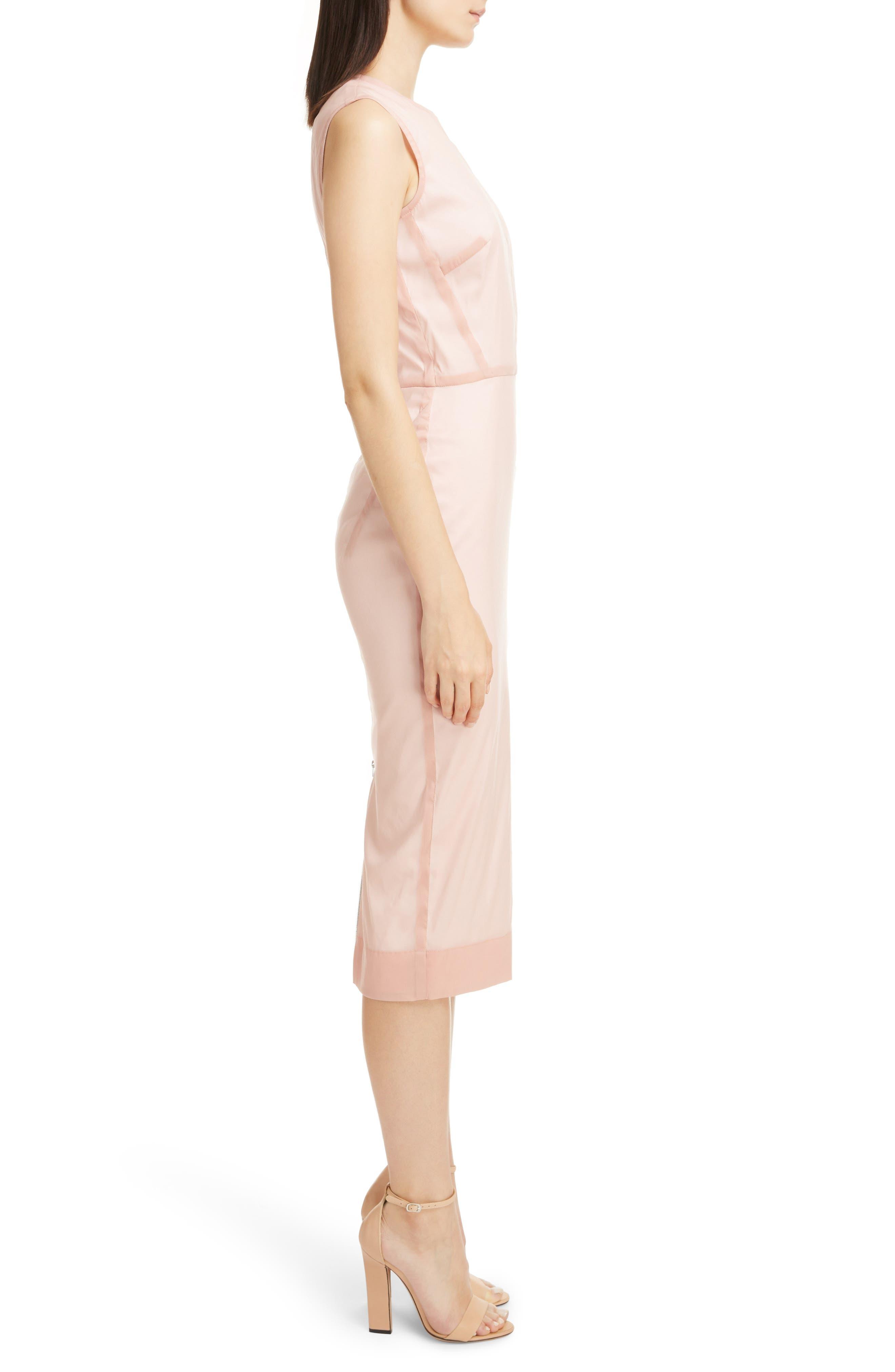 Stretch Silk Organza Sheath Dress,                             Alternate thumbnail 3, color,                             Dusty Pink