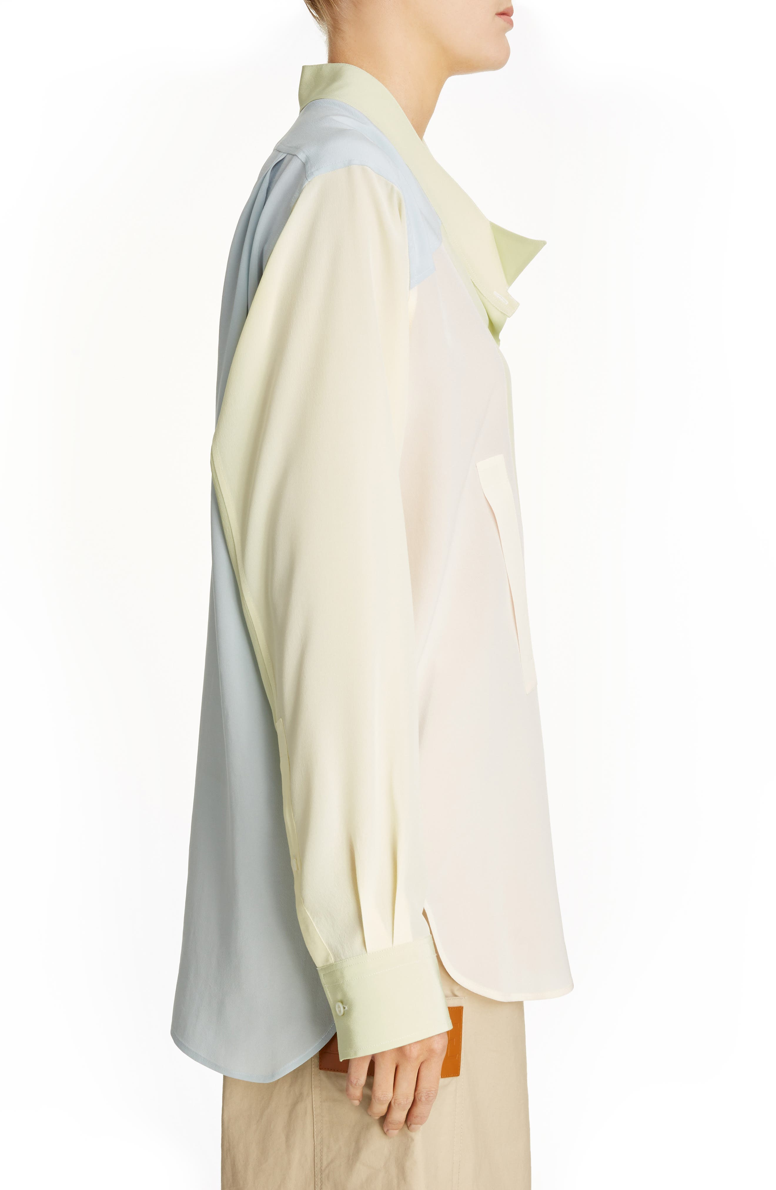 Asymmetrical Patchwork Silk Shirt,                             Alternate thumbnail 3, color,                             Multicolor