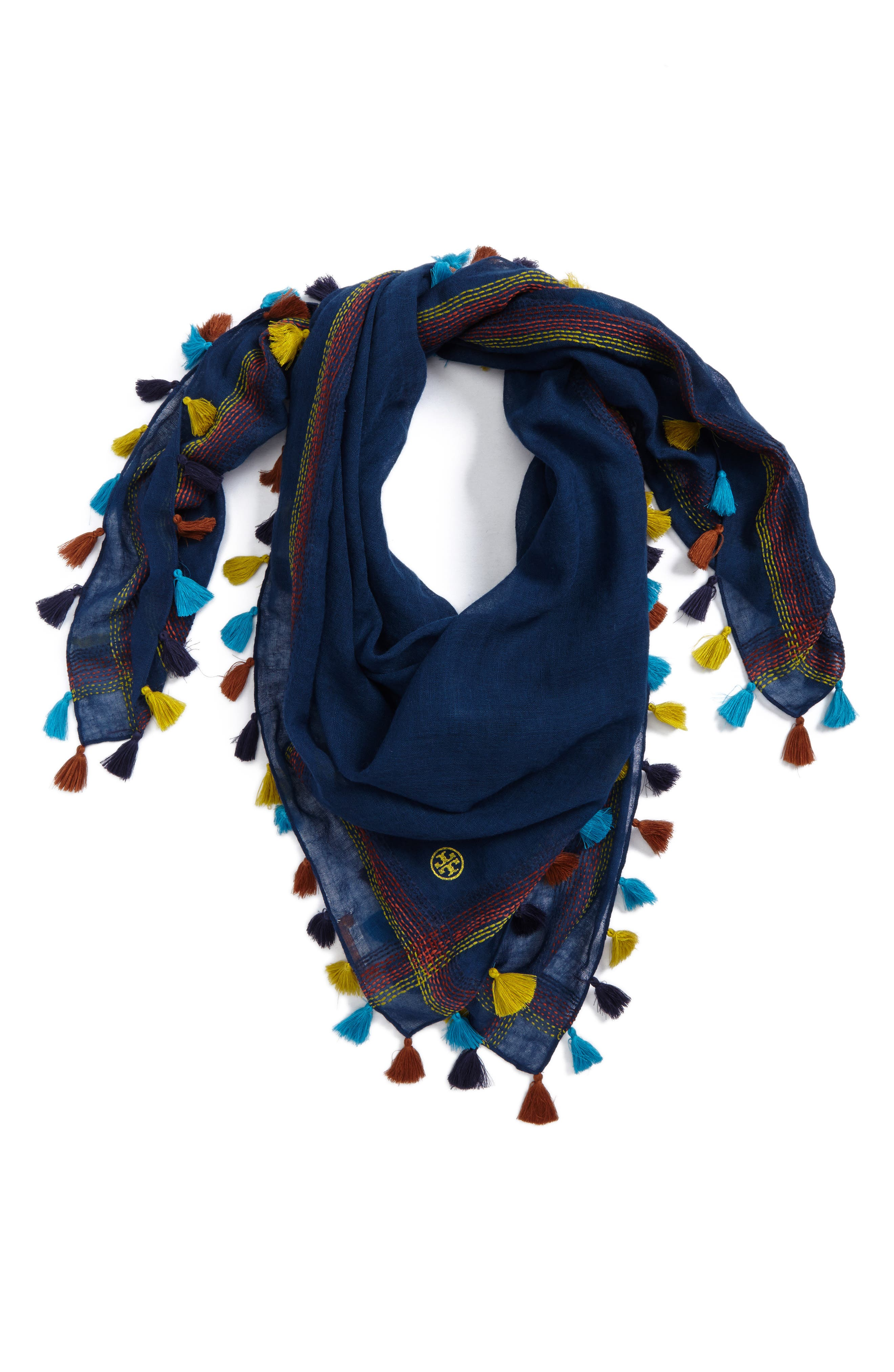 Embroidered Tassel Trim Wool Scarf,                         Main,                         color, Navy