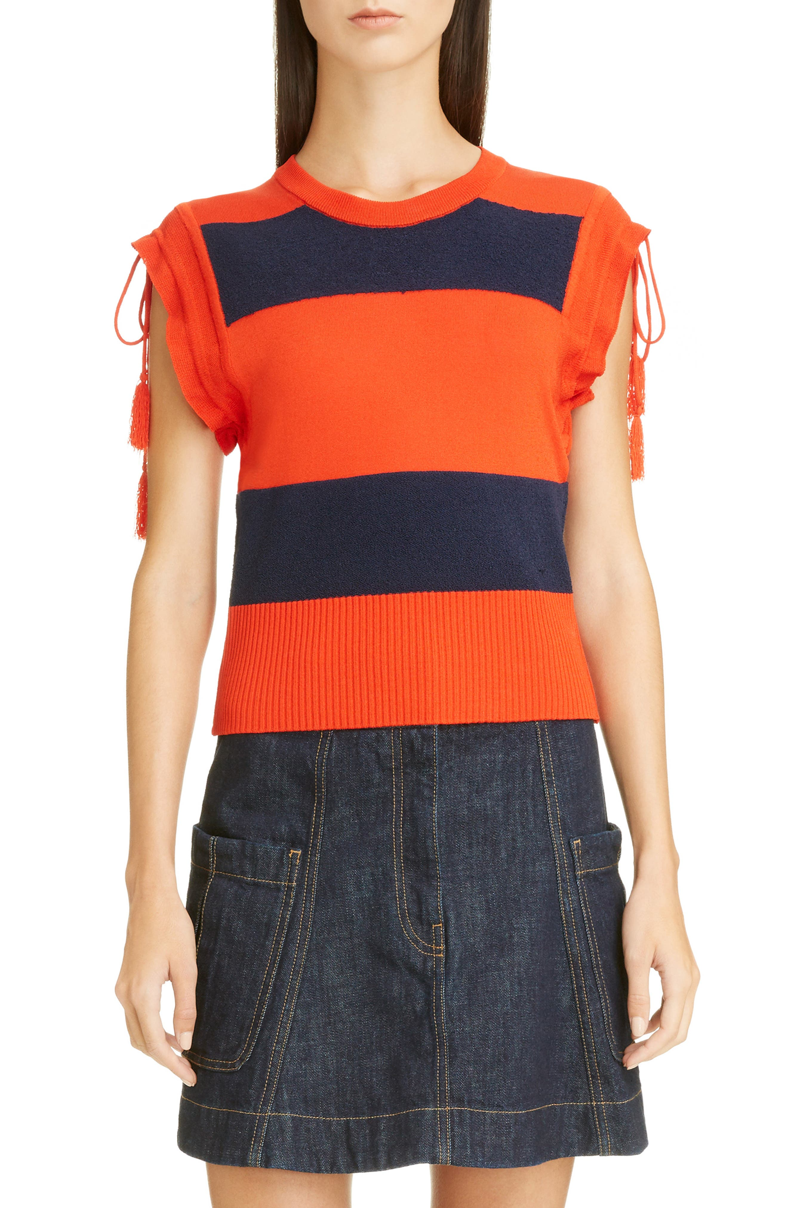Tassel Detail Rugby Stripe Top,                             Main thumbnail 1, color,                             Marine/ Rouge