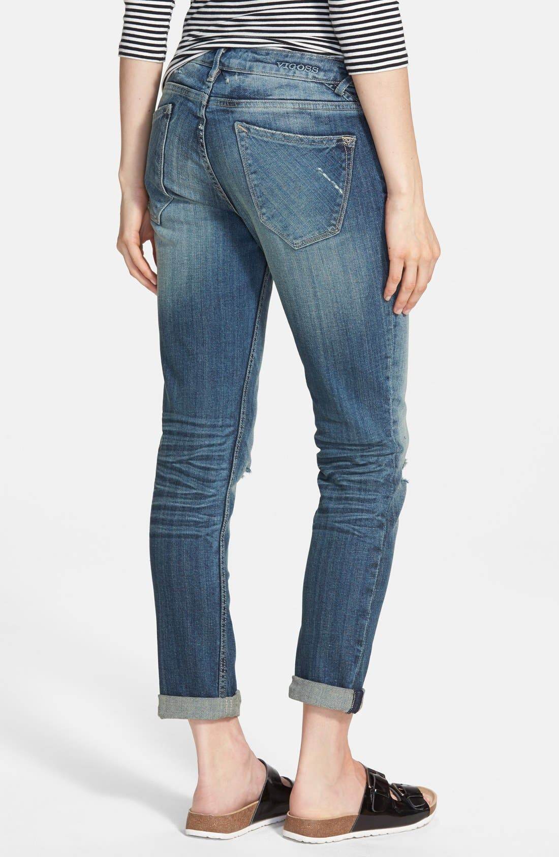 'Tomboy' Destroyed Skinny Jeans,                             Alternate thumbnail 2, color,                             Medium Wash