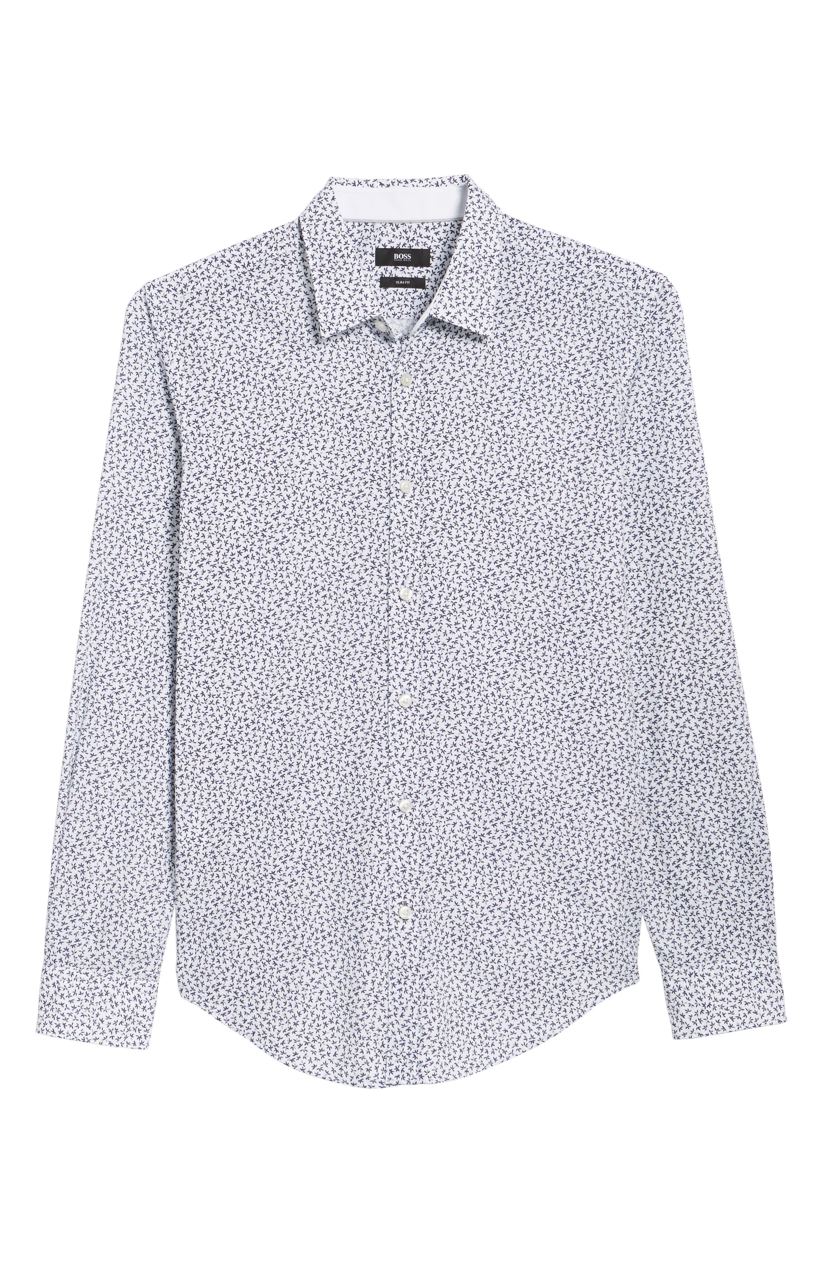 Ronni Trim Fit Floral Print Sport Shirt,                             Alternate thumbnail 6, color,                             Blue