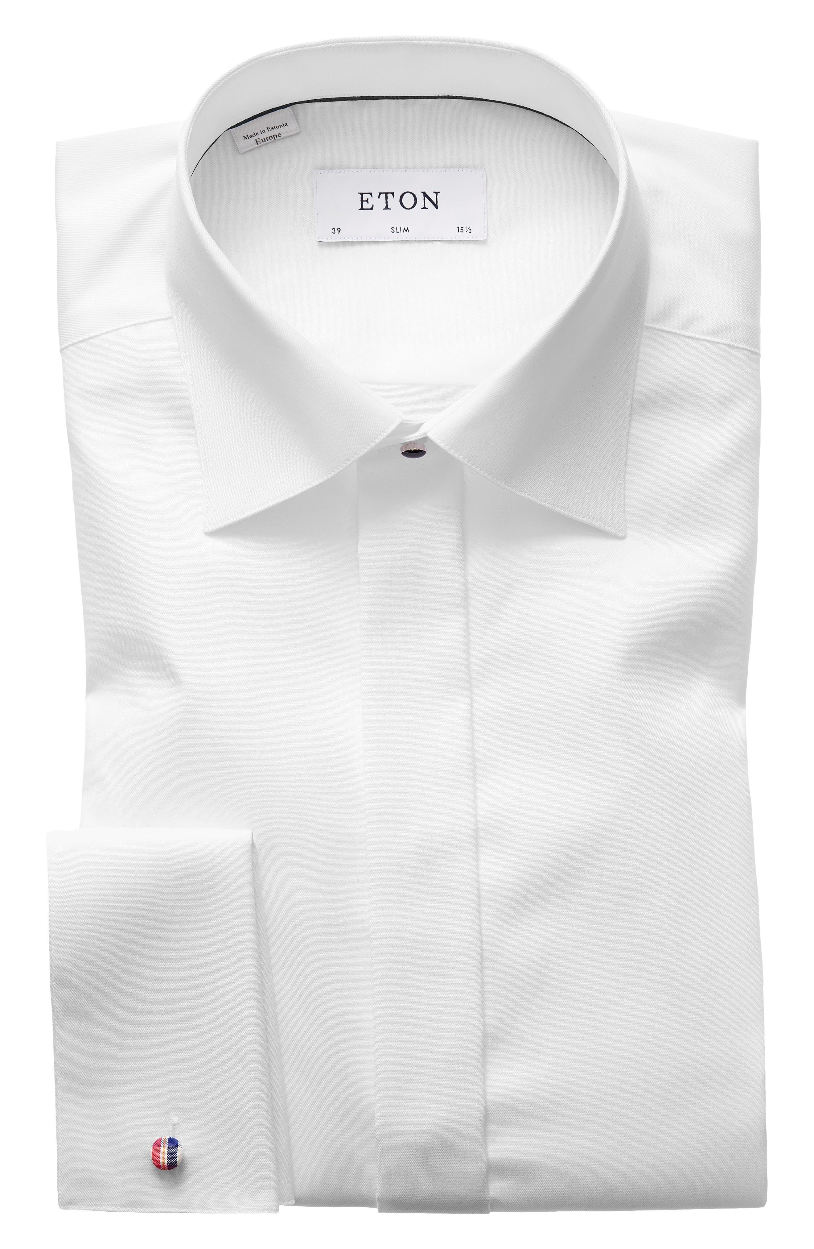Slim Fit Solid Tuxedo Shirt,                             Main thumbnail 1, color,                             White