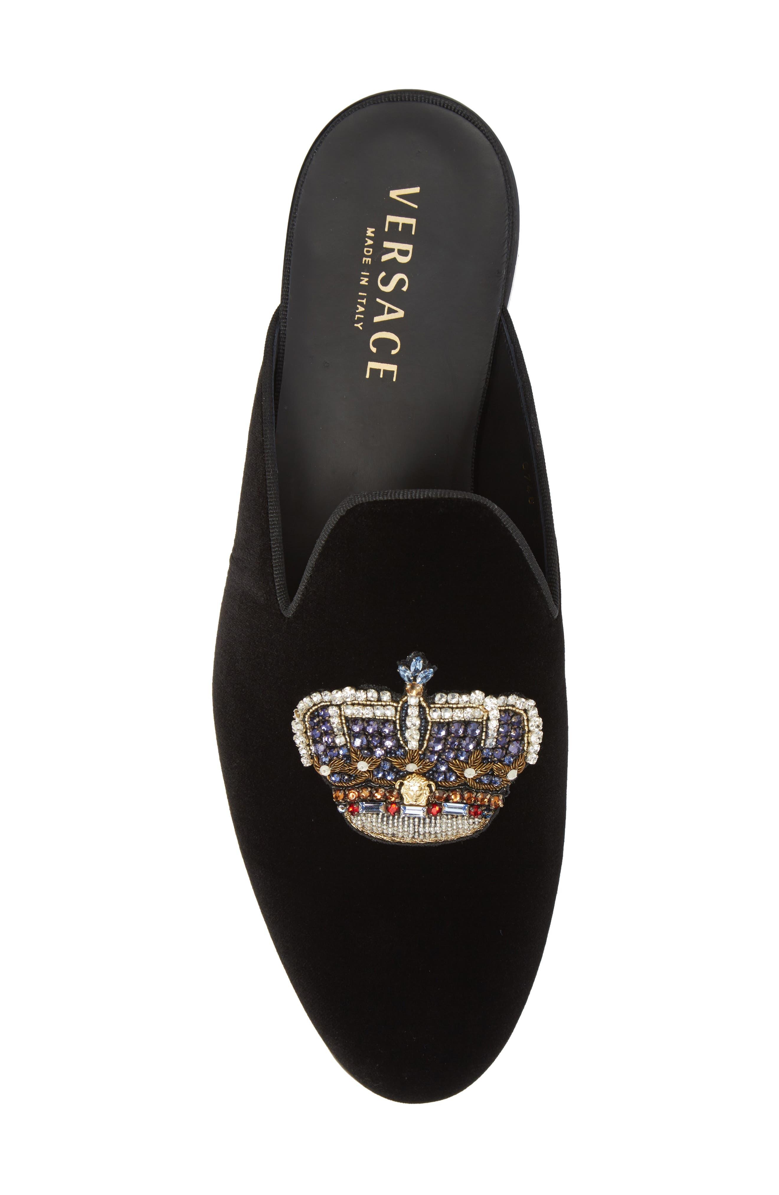 Gianni Embellished Crown Loafer Mule,                             Alternate thumbnail 5, color,                             Black Warm Gold