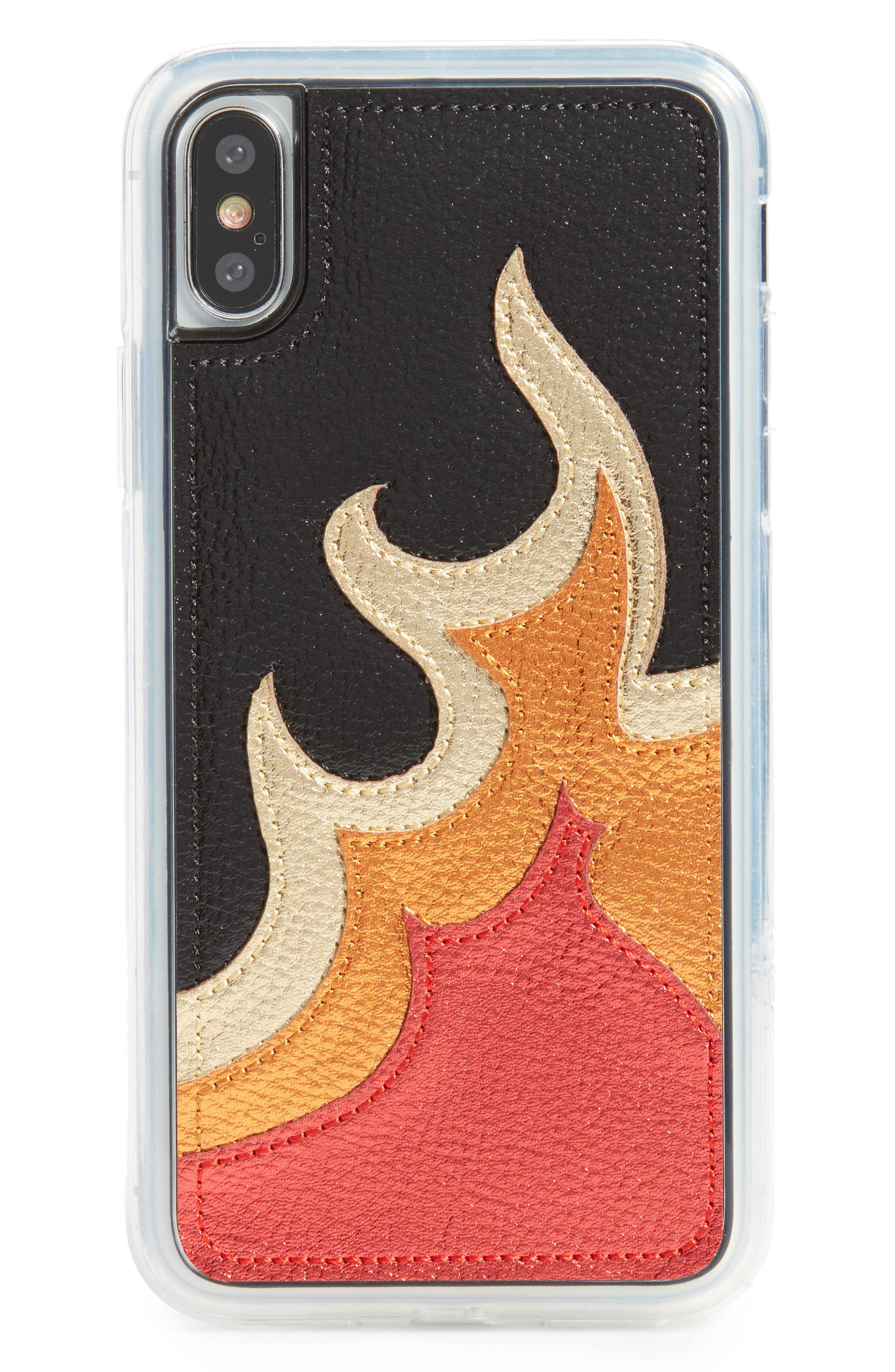 Burn iPhone X Case,                         Main,                         color, Red Metallic