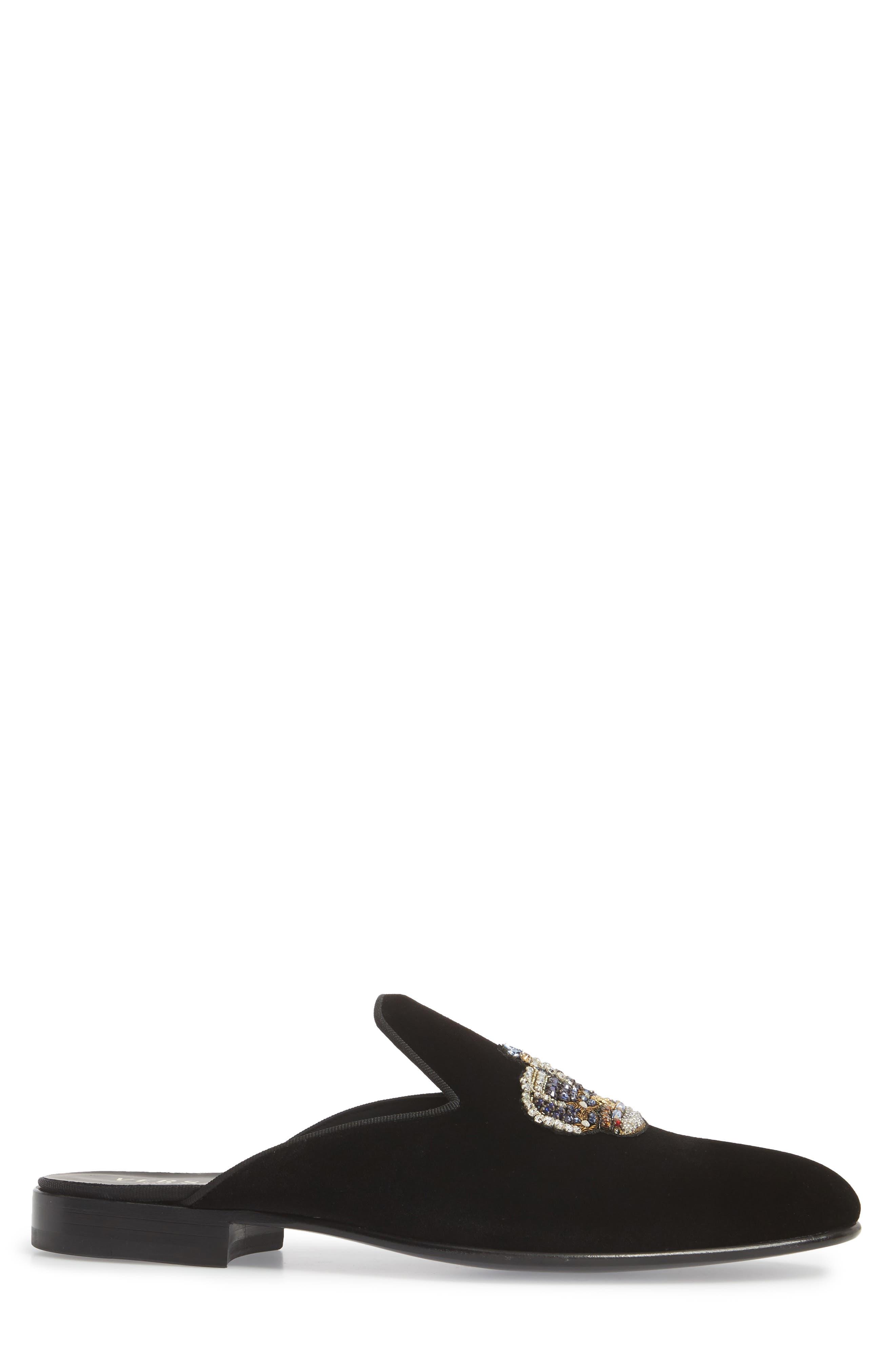 Gianni Embellished Crown Loafer Mule,                             Alternate thumbnail 3, color,                             Black Warm Gold