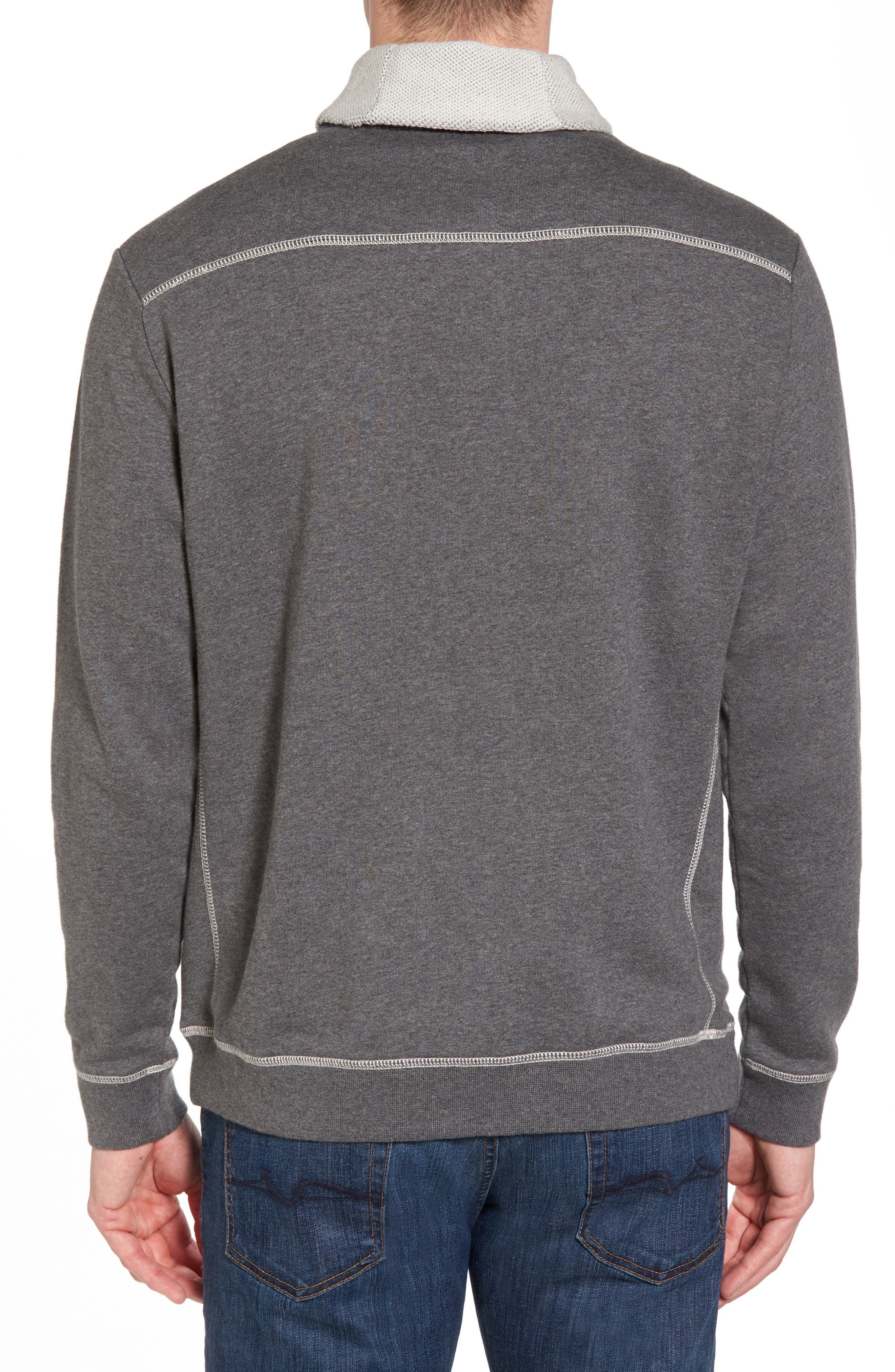 Shorecrest Shawl Collar Pullover,                             Alternate thumbnail 2, color,                             Charcoal Heather
